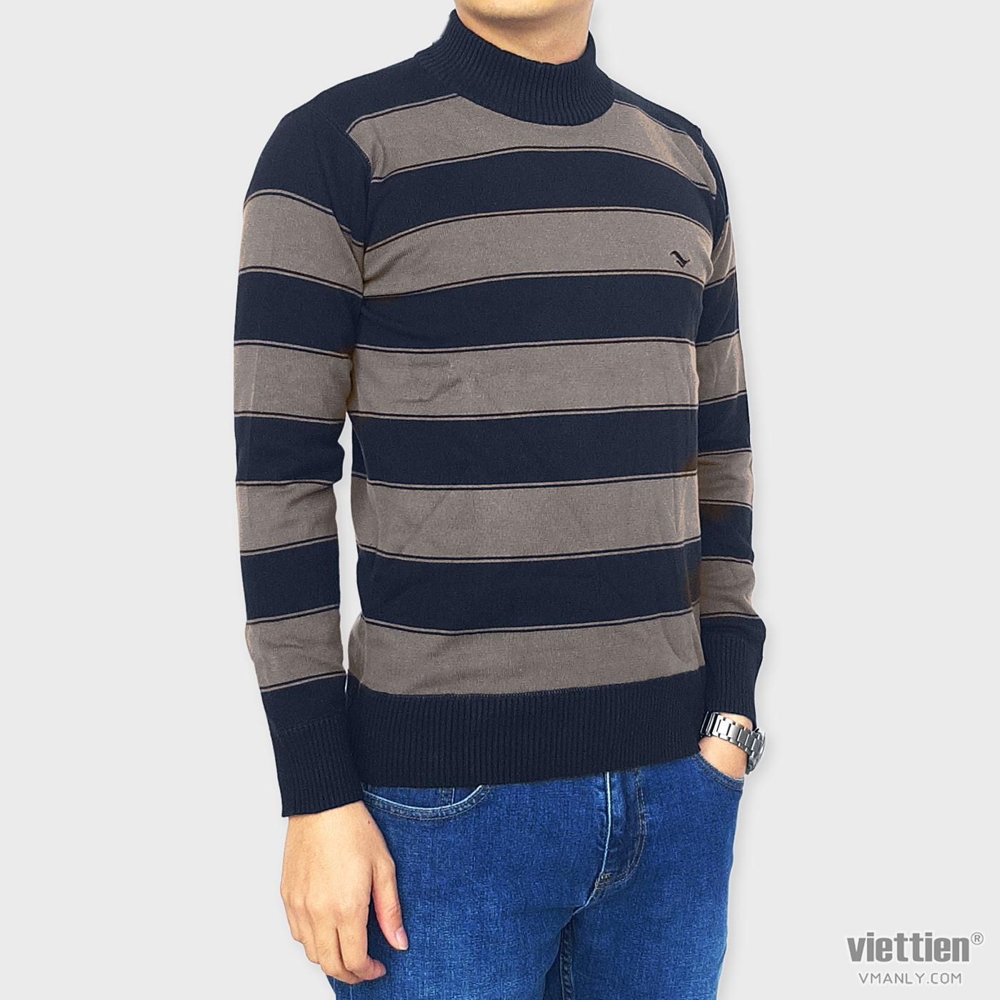 Áo len dài tay Việt Tiến cổ cao 6 cm màu đen sọc xám 6F9018CH4/LC