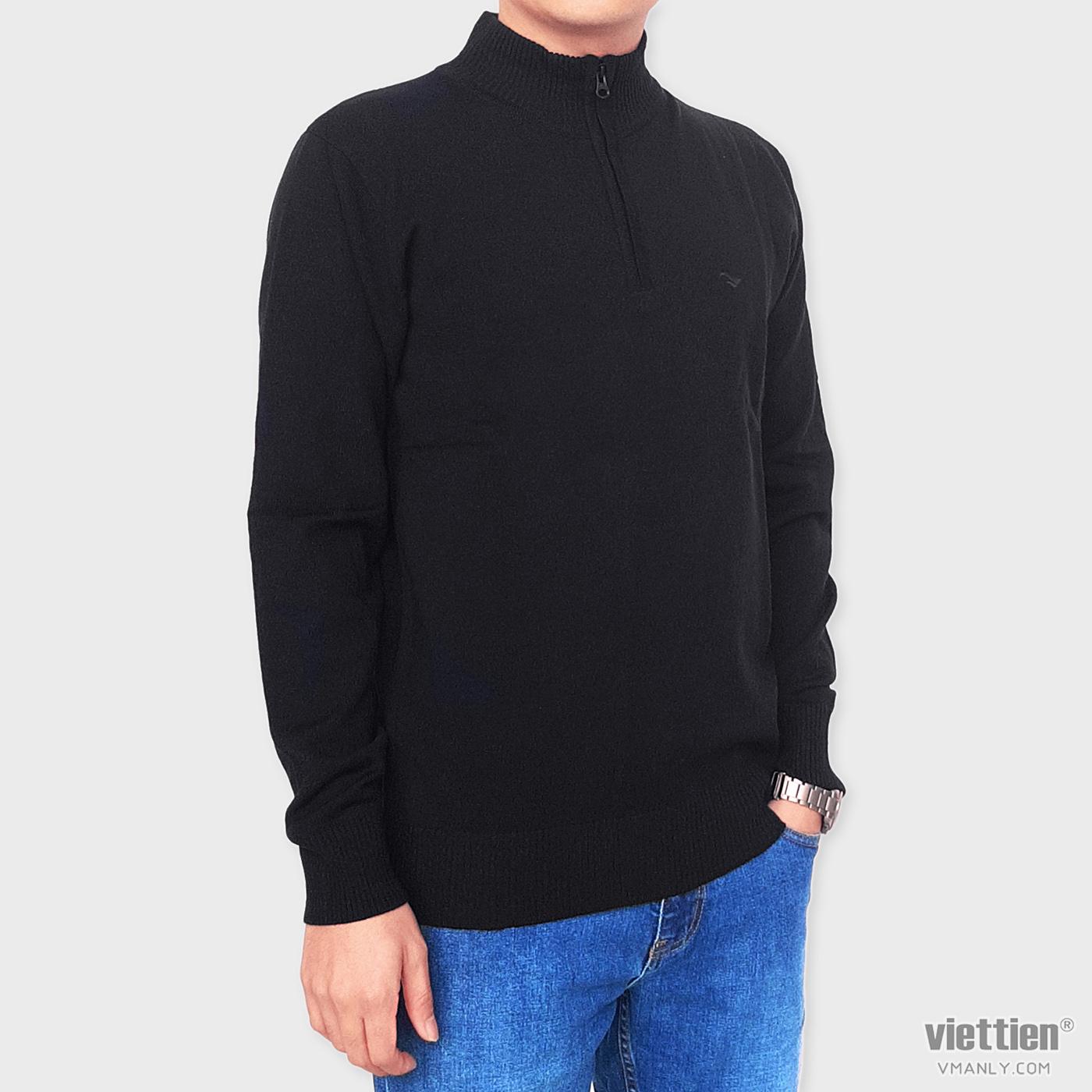 Áo len dài tay Việt Tiến cổ cao 6 phân màu đen có khóa kéo 6F9020CH5/LC