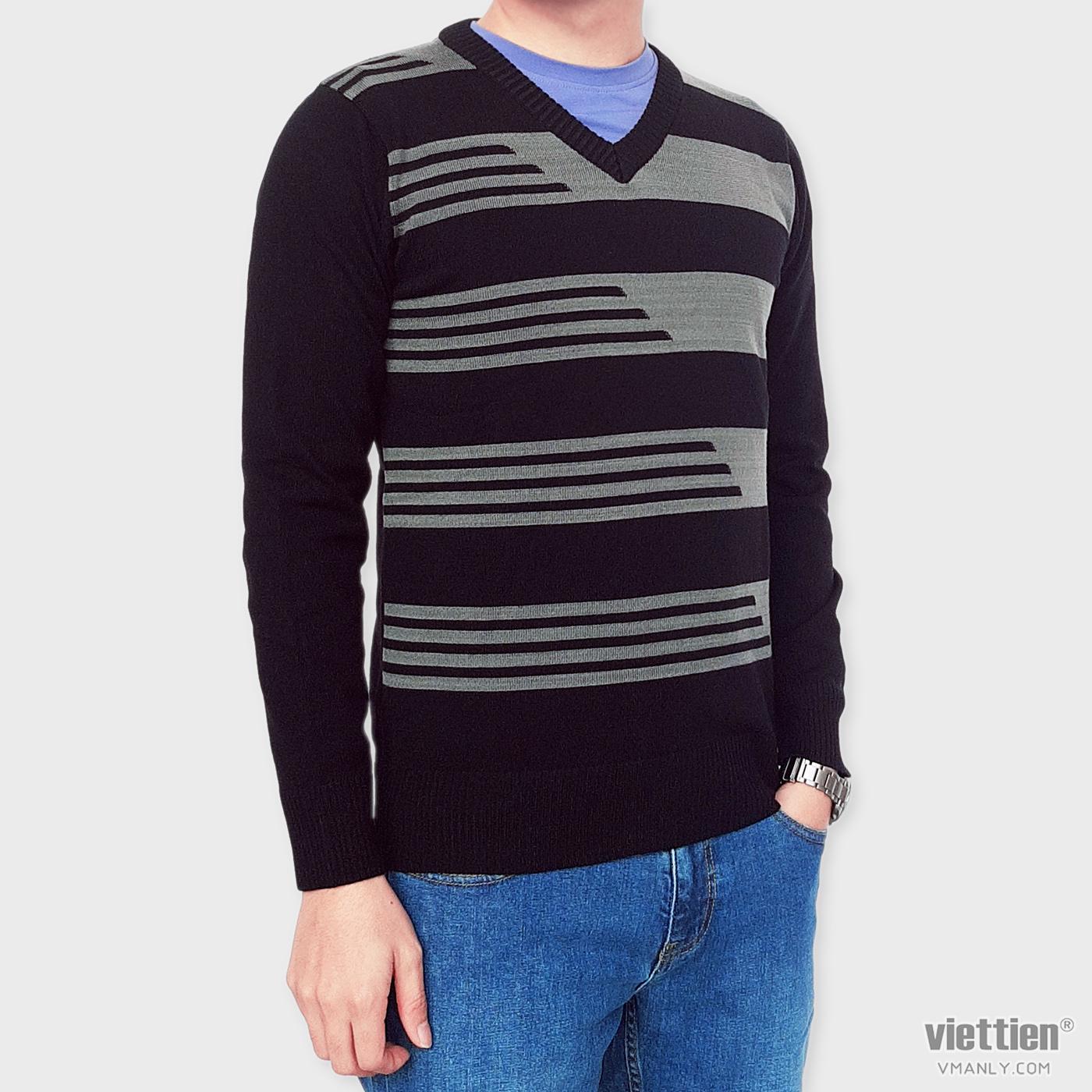 Áo len dài tay Việt Tiến cổ tim màu đen sọc xanh 6E9007CH4/LTI