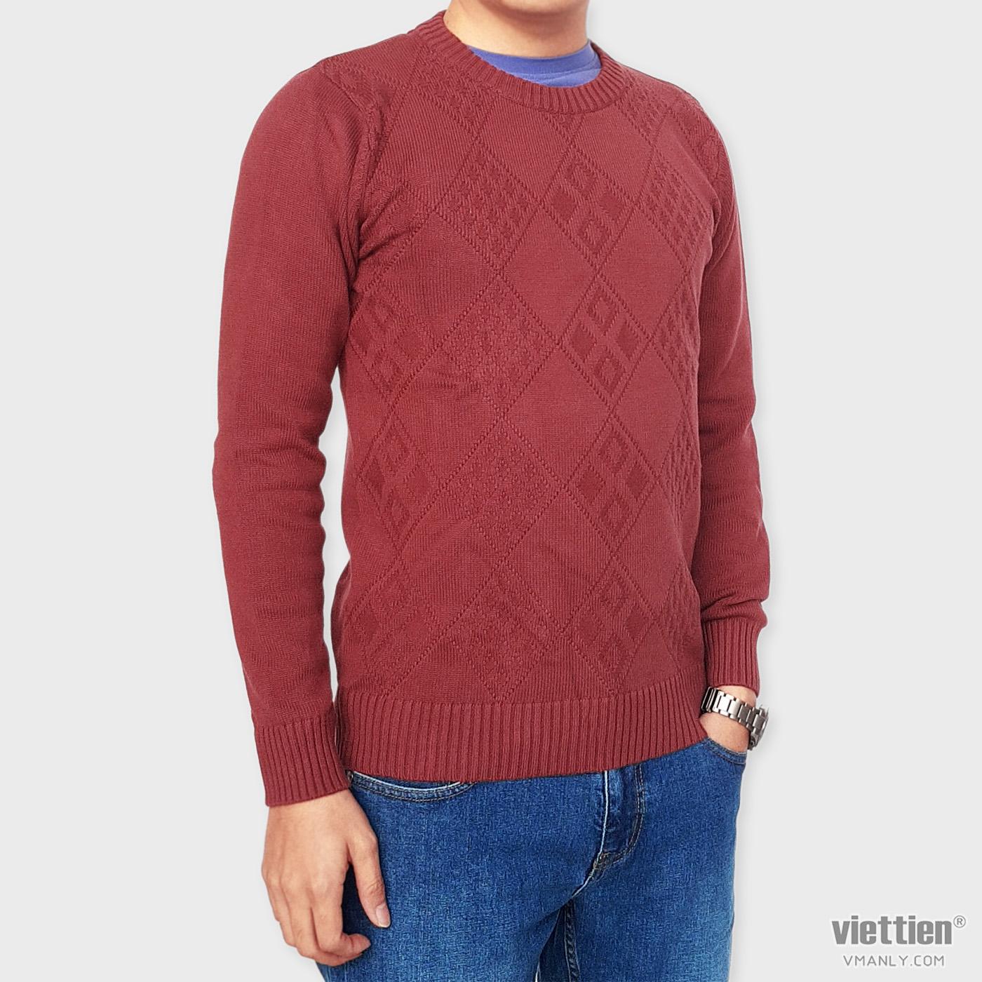 Áo len dài tay Việt Tiến cổ tròn màu đỏ hoa văn 6G9004CH5/LTR
