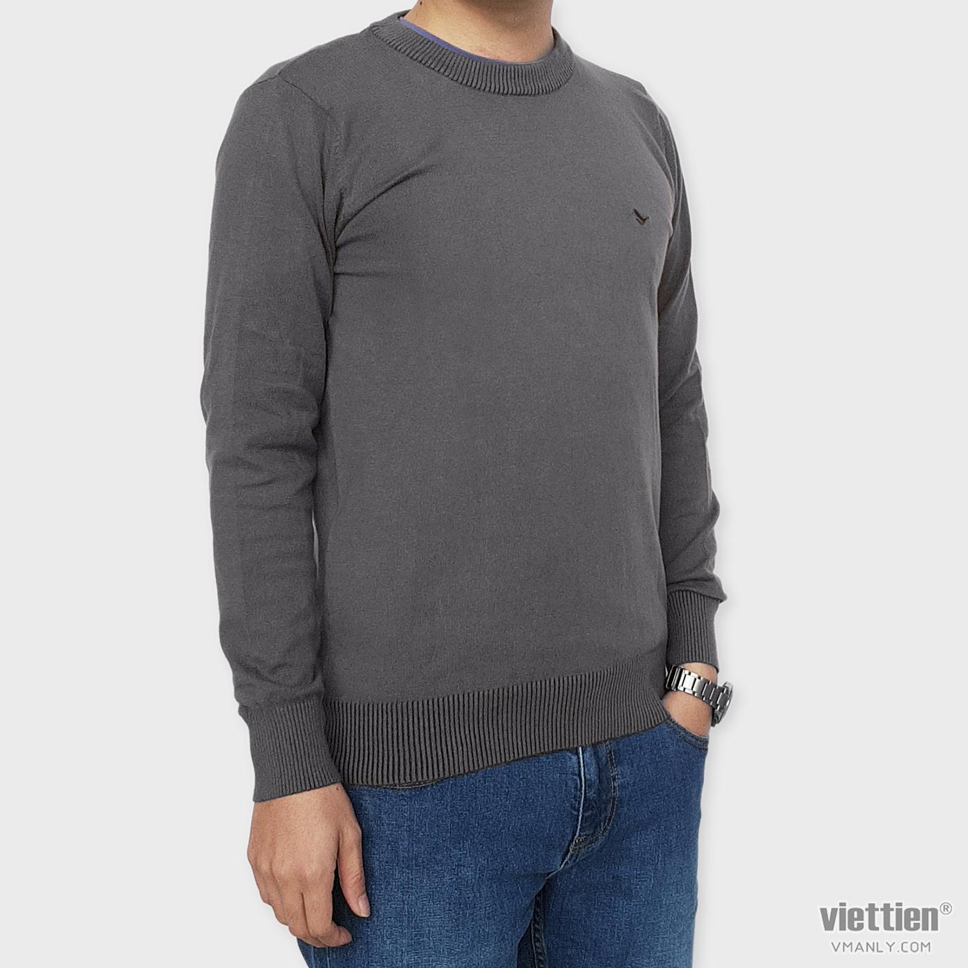 Áo len dài tay Việt Tiến cổ tròn màu nâu 6G9012CH4/LTR