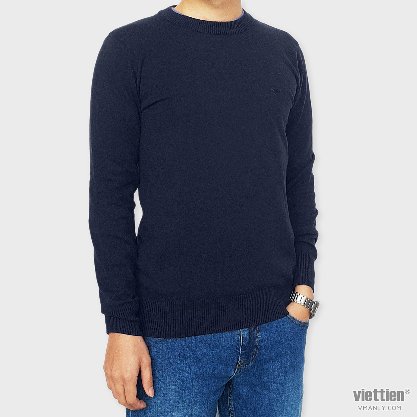 Áo len dài tay Việt Tiến cổ tròn màu xanh navy 6G9000CH4/LTR