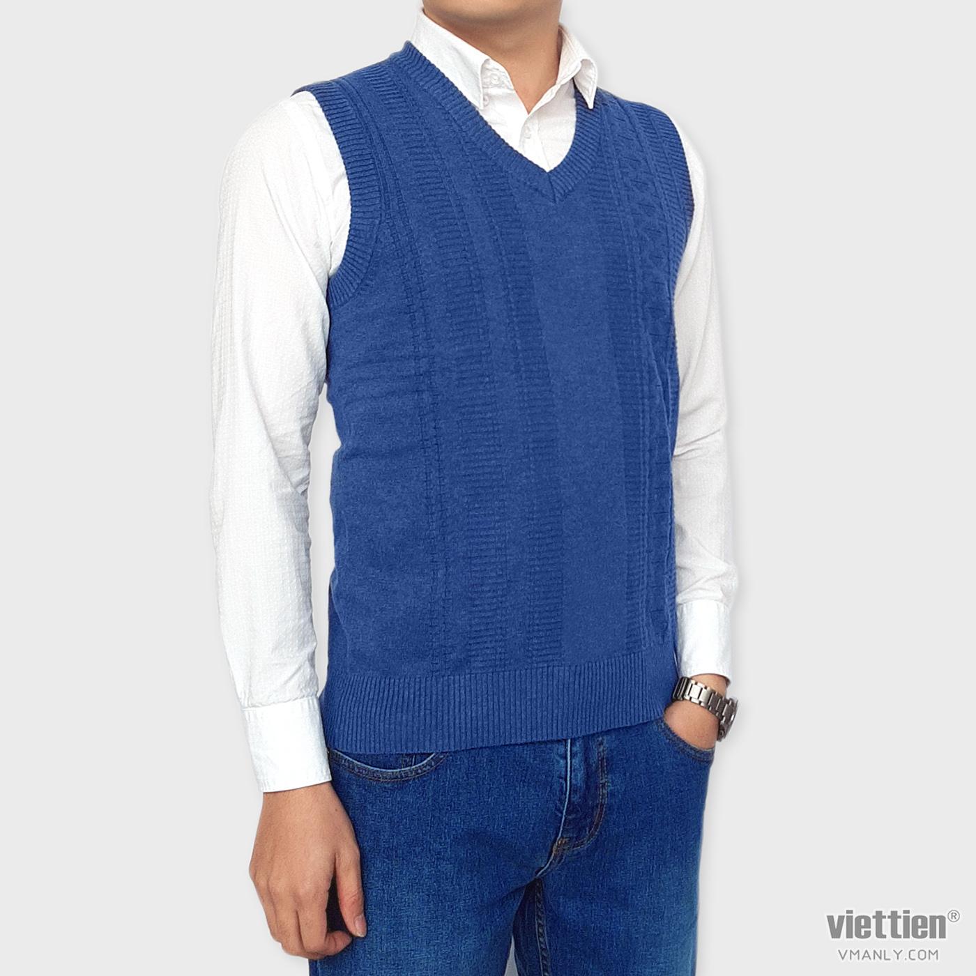 Áo len gile Việt Tiến cổ tim màu xanh blue hoa văn dệt nổi 6G9023CH4/GL