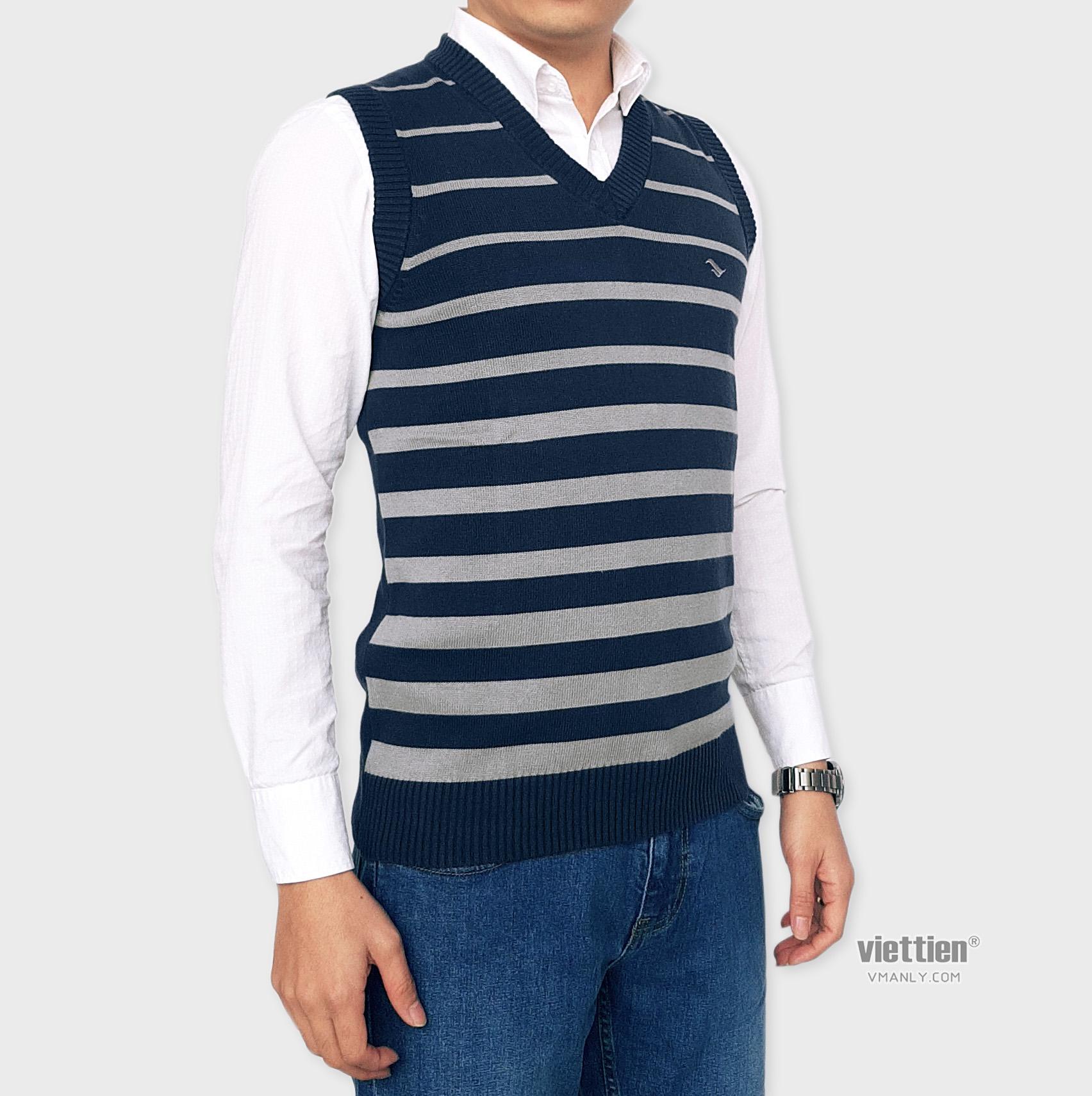 Áo len gile Việt Tiến cổ tim màu xanh sọc xám 6F9023CH3/GL