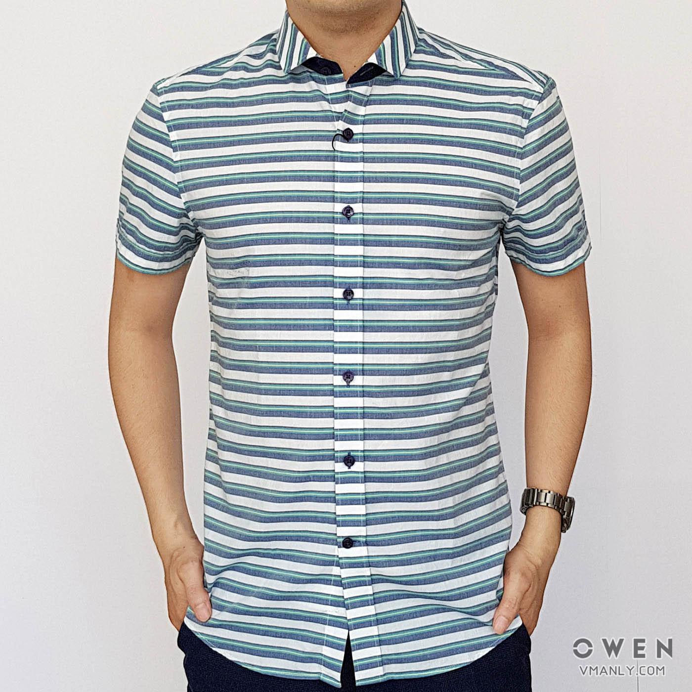 Áo sơ mi nam ngắn tay Owen màu trắng sọc xanh AR80059N