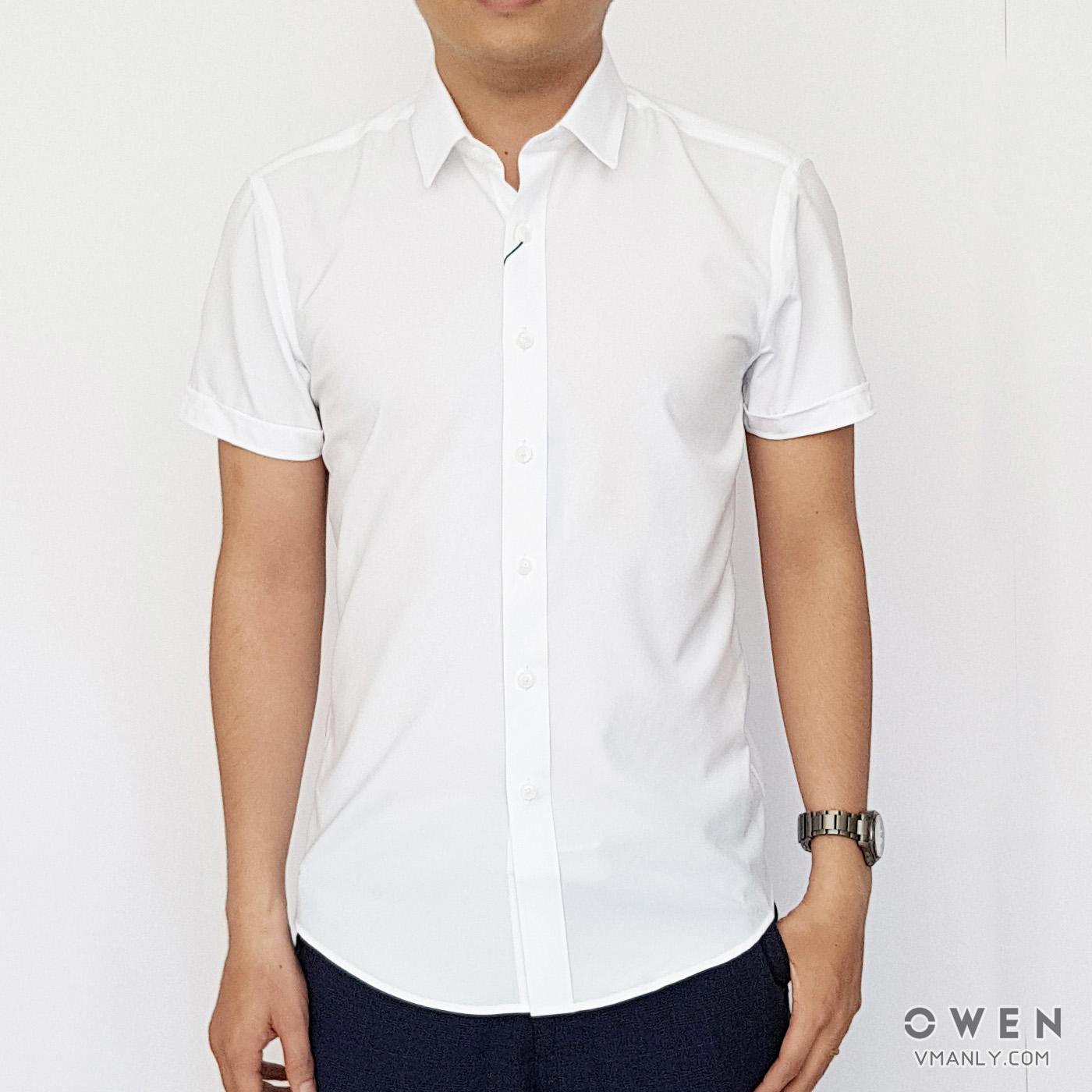Áo sơ mi nam ngắn tay Owen màu trắng trơn AS90782N1