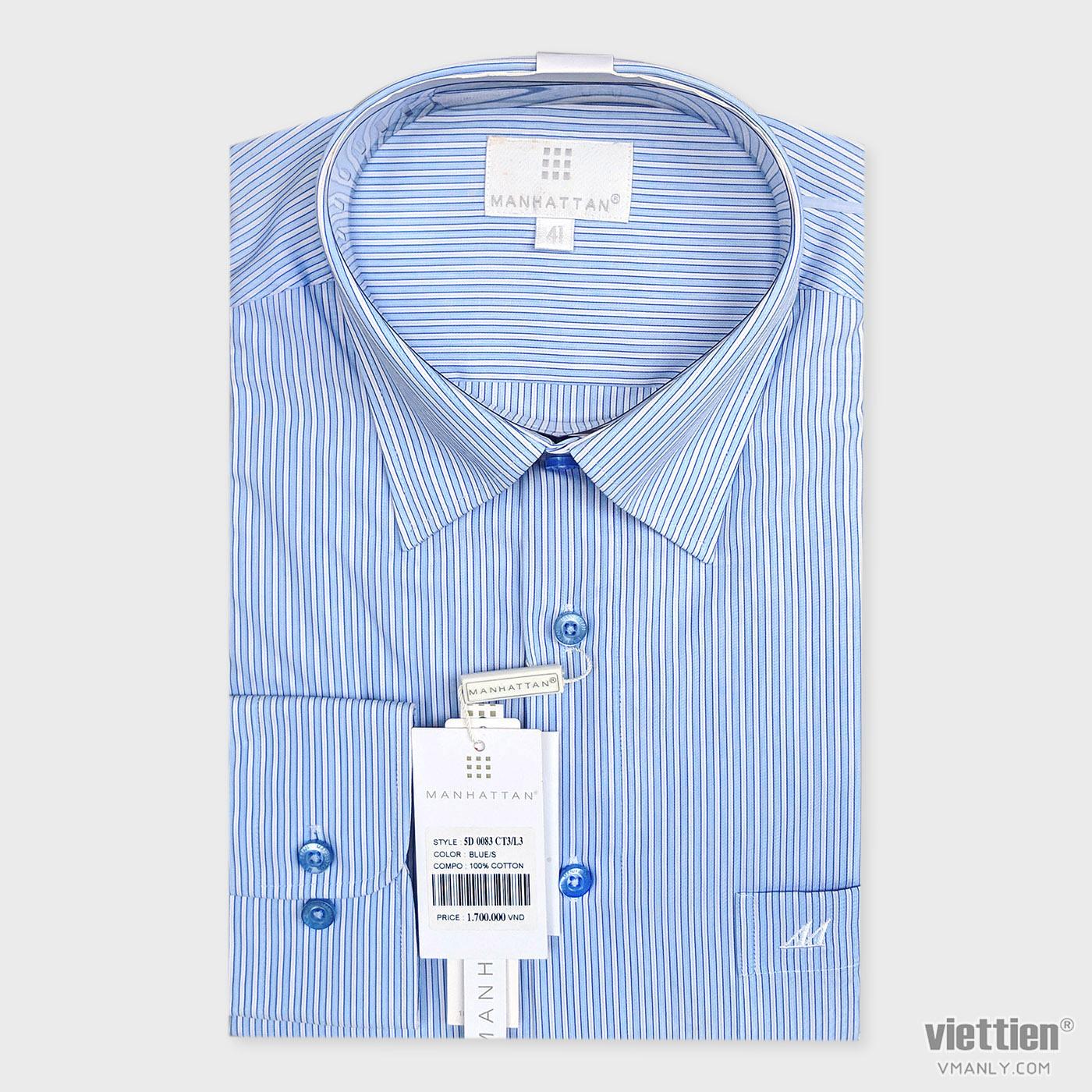 Áo sơ mi cao cấp Manhattan Việt Tiến dài tay có túi màu xanh kẻ sọc 5D0083CT3/L3