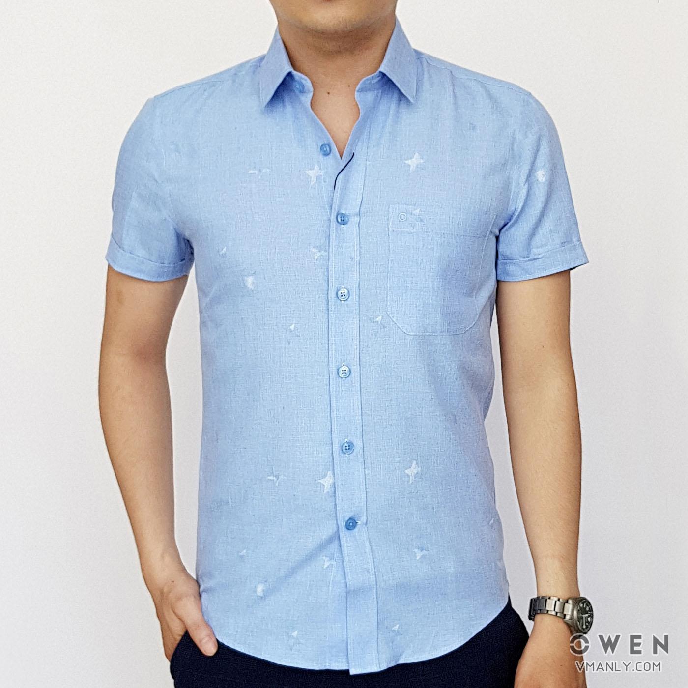 Áo sơ mi nam ngắn tay Owen màu xanh hoa văn AS90545N