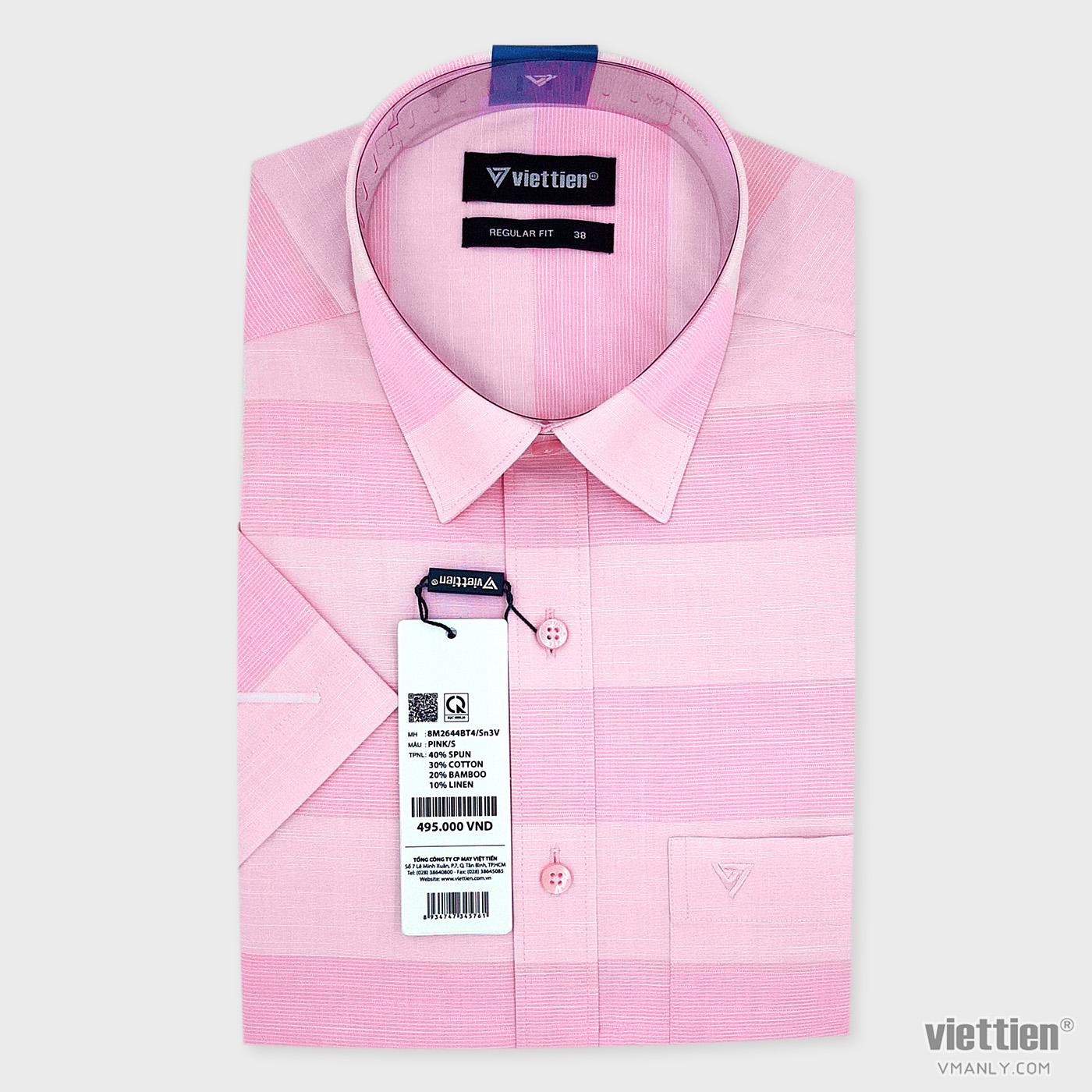 Áo sơ mi nam ngắn tay Việt Tiến có túi kẻ sọc màu hồng regular fit 8M2644BT4/Sn3V