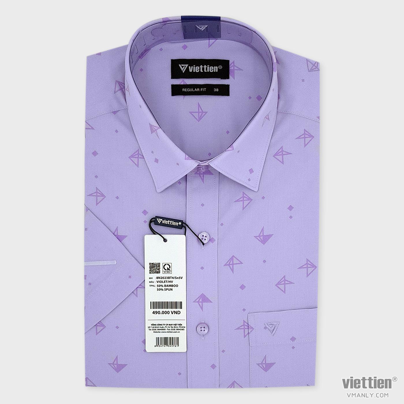 Áo sơ mi nam ngắn tay Việt Tiến có túi, màu tím hoa văn regular fit 8N2023BT4/Sn5V