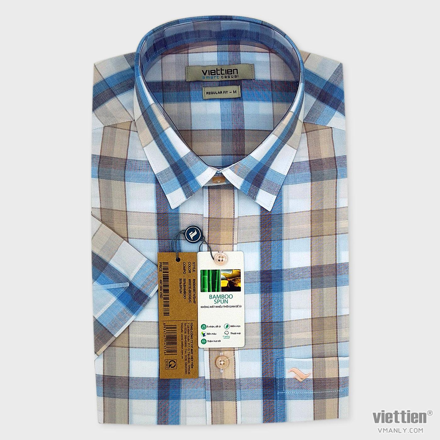 Áo sơ mi nam ngắn tay Việt Tiến có túi kẻ carô regular fit 6N0045BT4/Sn4F