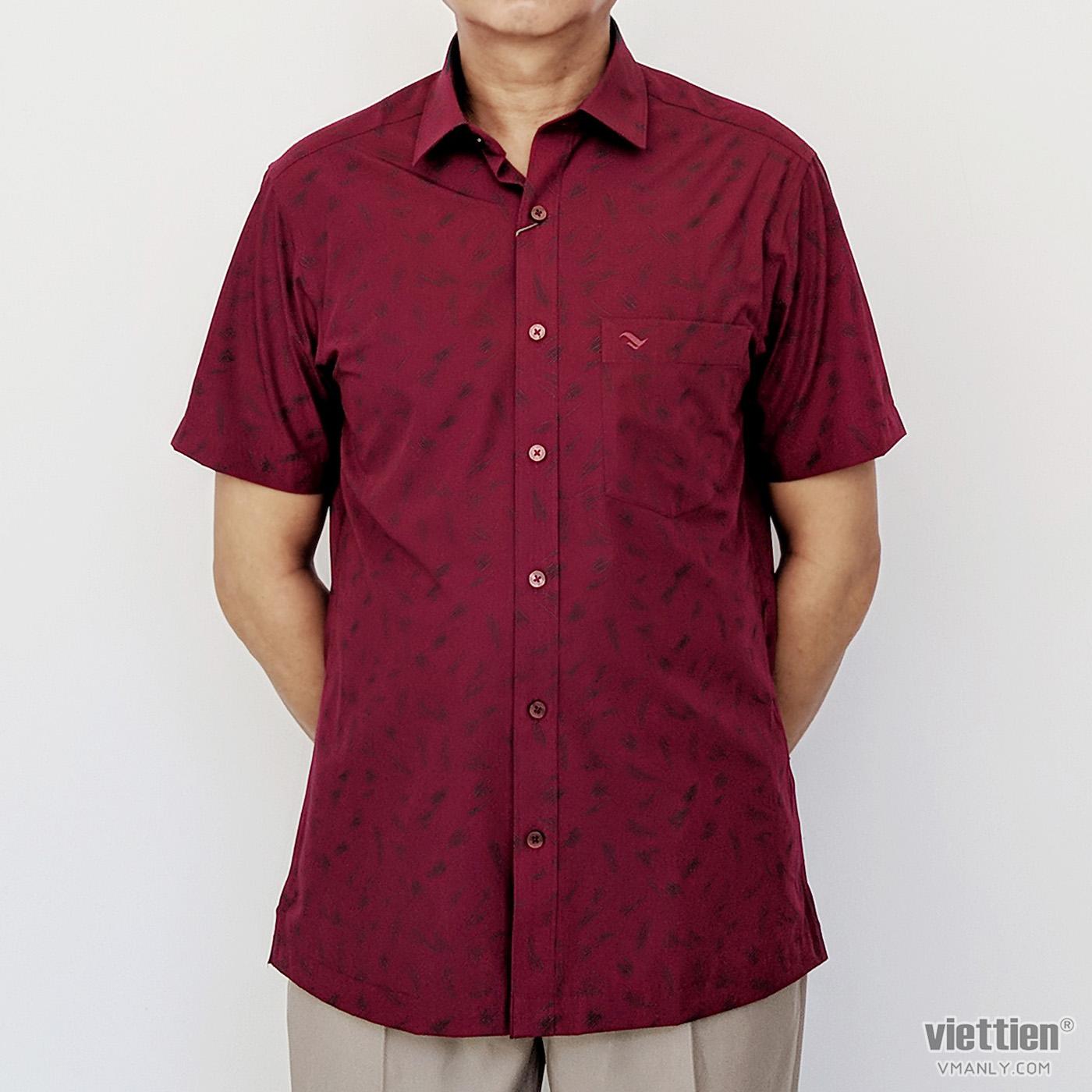 Áo sơ mi nam ngắn tay Việt Tiến màu đỏ hoa văn 6N0103