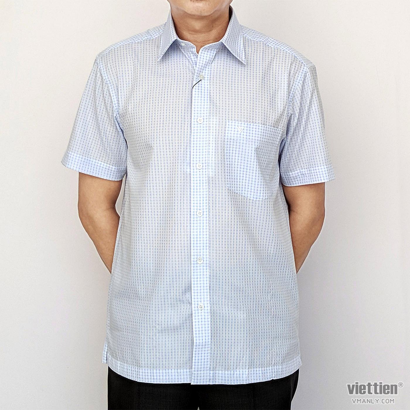 Áo sơ mi nam ngắn tay Việt Tiến màu trắng caro xanh 1N2332