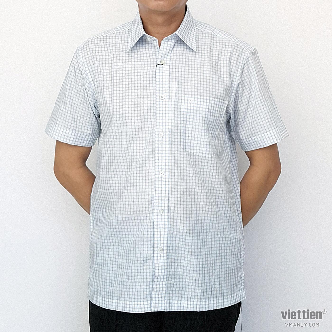Áo sơ mi nam ngắn tay Việt Tiến màu trắng ca rô xanh 1N2265