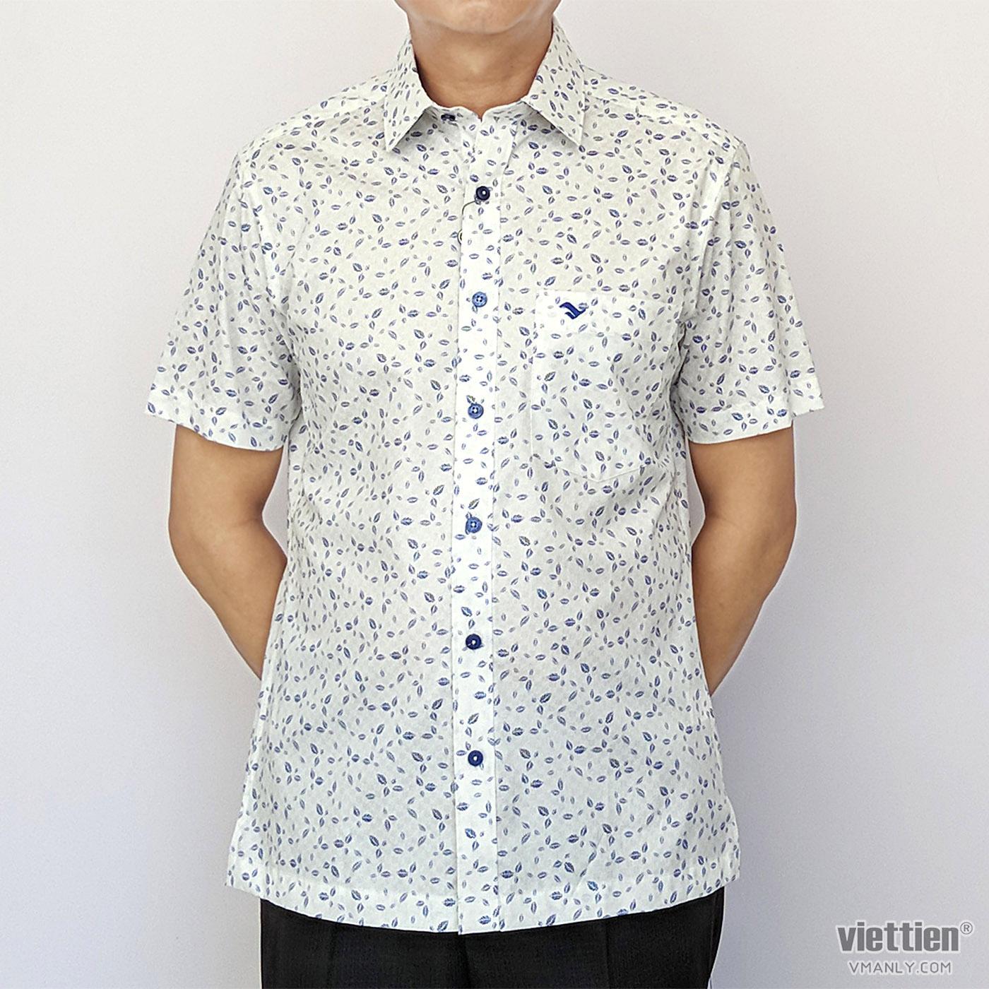 Áo sơ mi nam ngắn tay Việt Tiến màu trắng hoa văn 6N0019