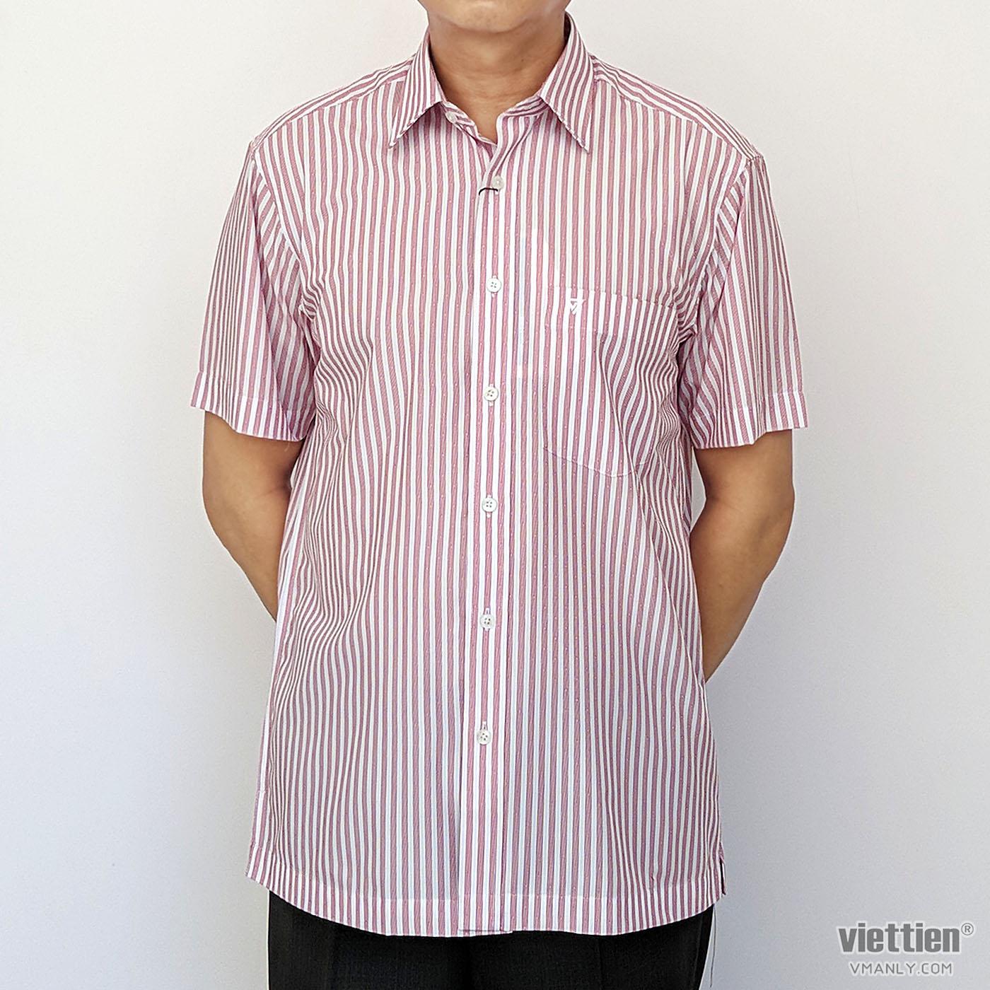 Áo sơ mi nam ngắn tay Việt Tiến màu trắng sọc đỏ 1N2326