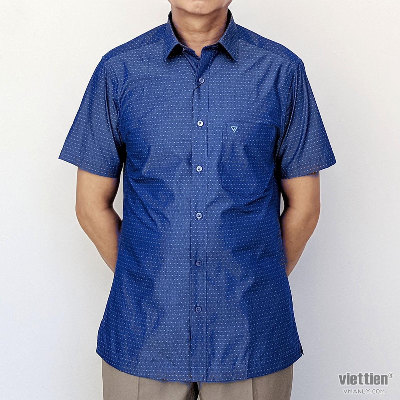 Áo sơ mi nam ngắn tay Việt Tiến màu xanh chấm bi 8N2517