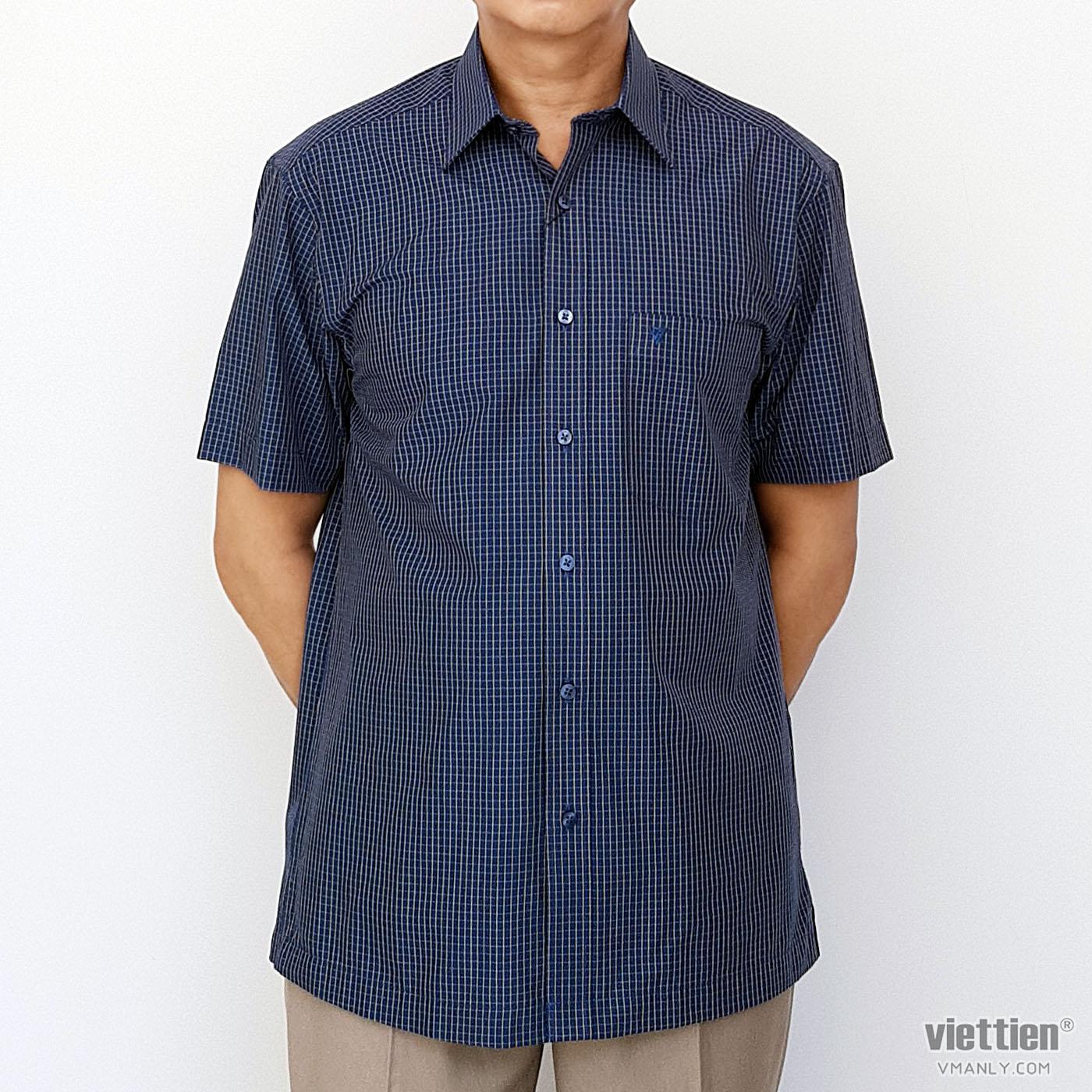 Áo sơ mi nam ngắn tay Việt Tiến màu xanh kẻ ca rô 1N2249