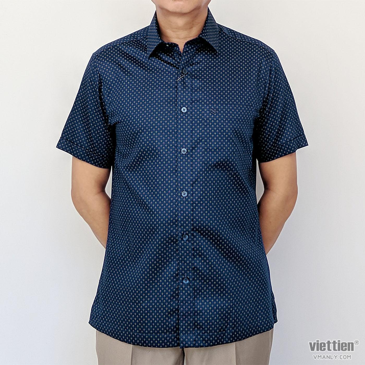 Áo sơ mi nam ngắn tay Việt Tiến màu xanh hoa văn 6N0037