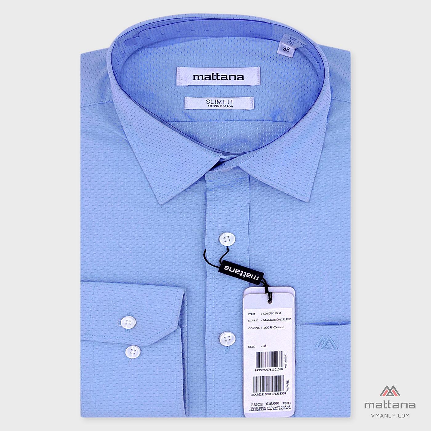 Áo sơ mi nam dài tay Mattana màu xanh hoa văn MAM25150011713183