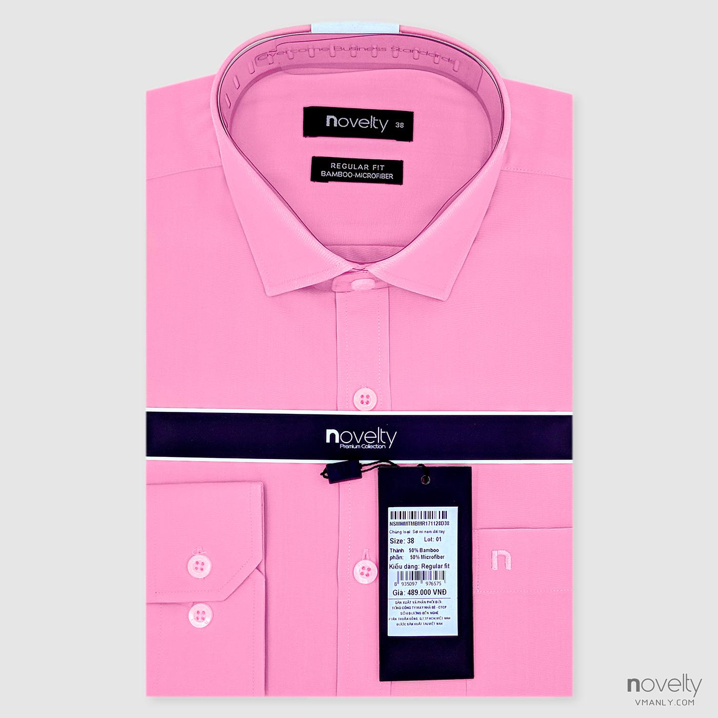 Áo sơ mi nam dài tay Novelty màu hồng NSMMMTMBMR171128D