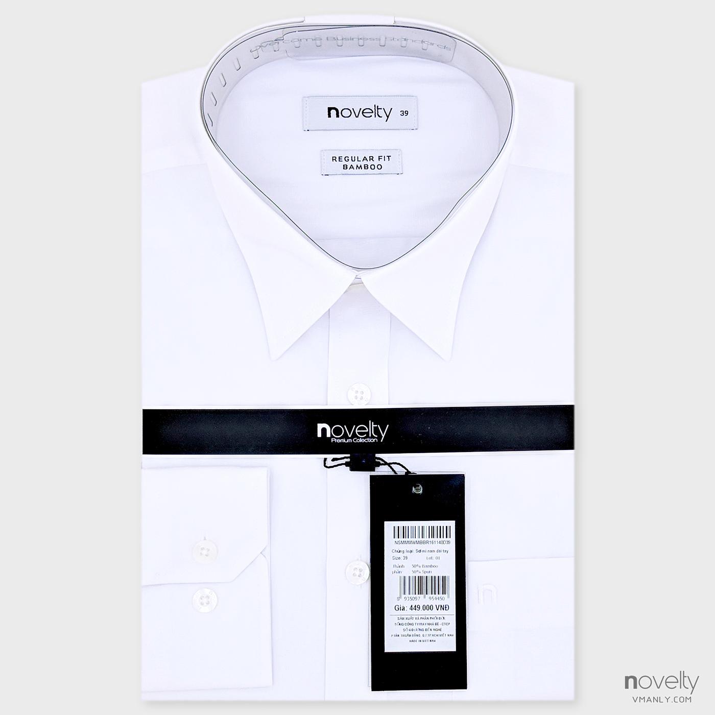Áo sơ mi nam dài tay Novelty màu trắng NSMMMWMBBR161140D