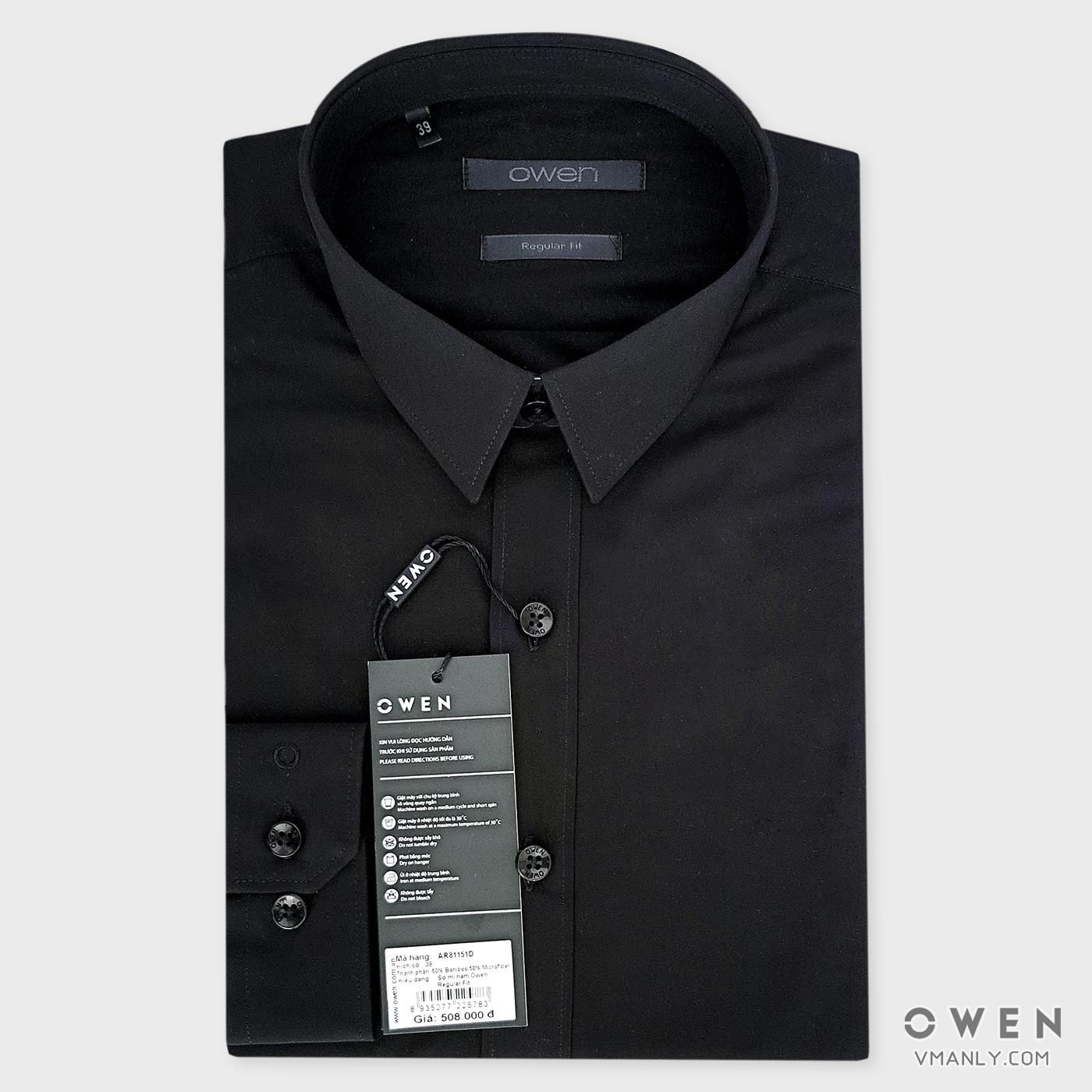 Áo sơ mi nam dài tay Owen màu đen AR81151D