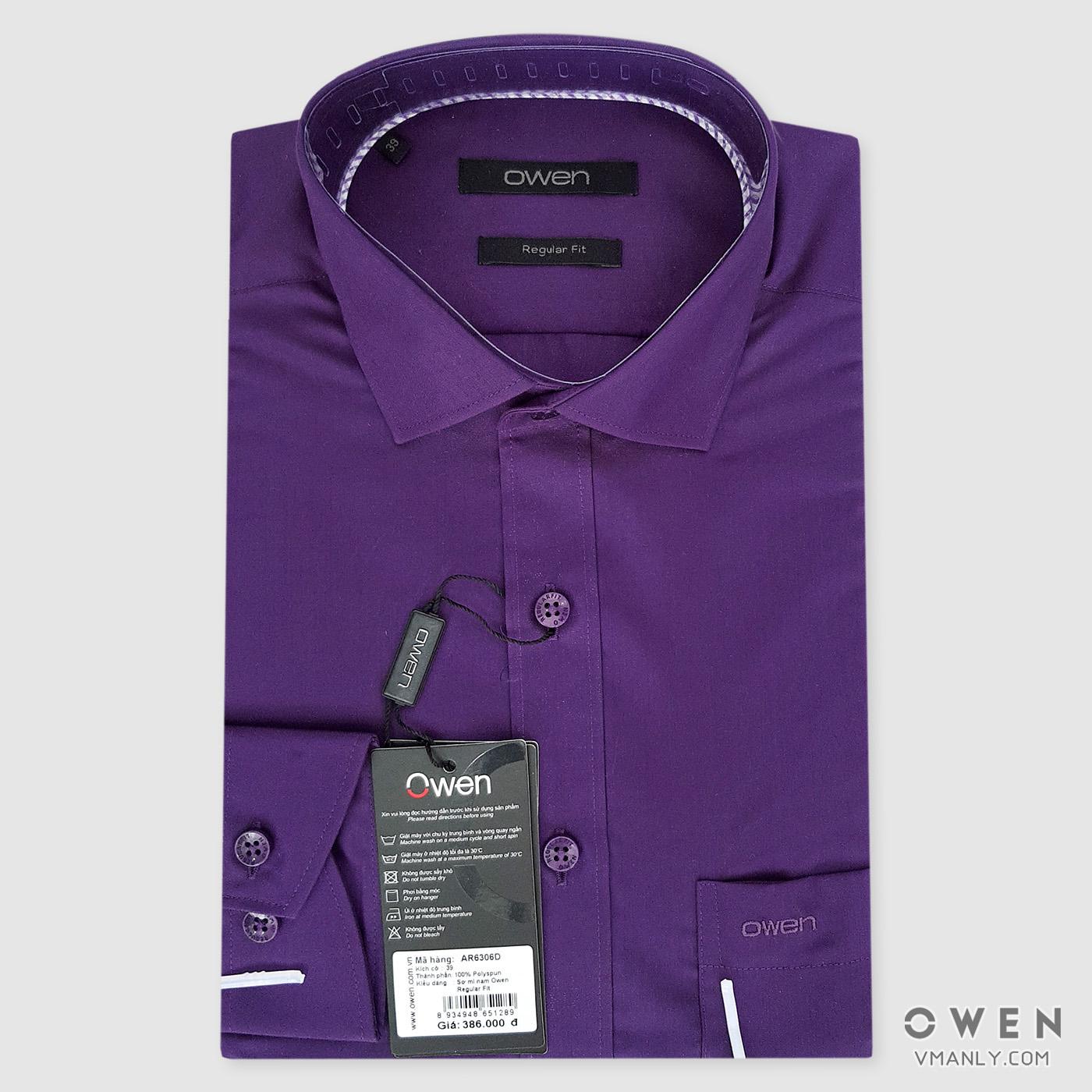 Áo sơ mi nam dài tay Owen màu tím AR6306D