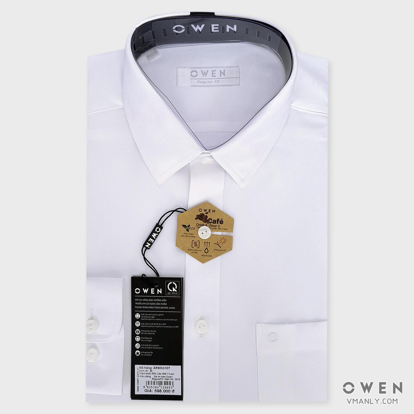 Áo sơ mi nam dài tay Owen màu trắng AR90531DT