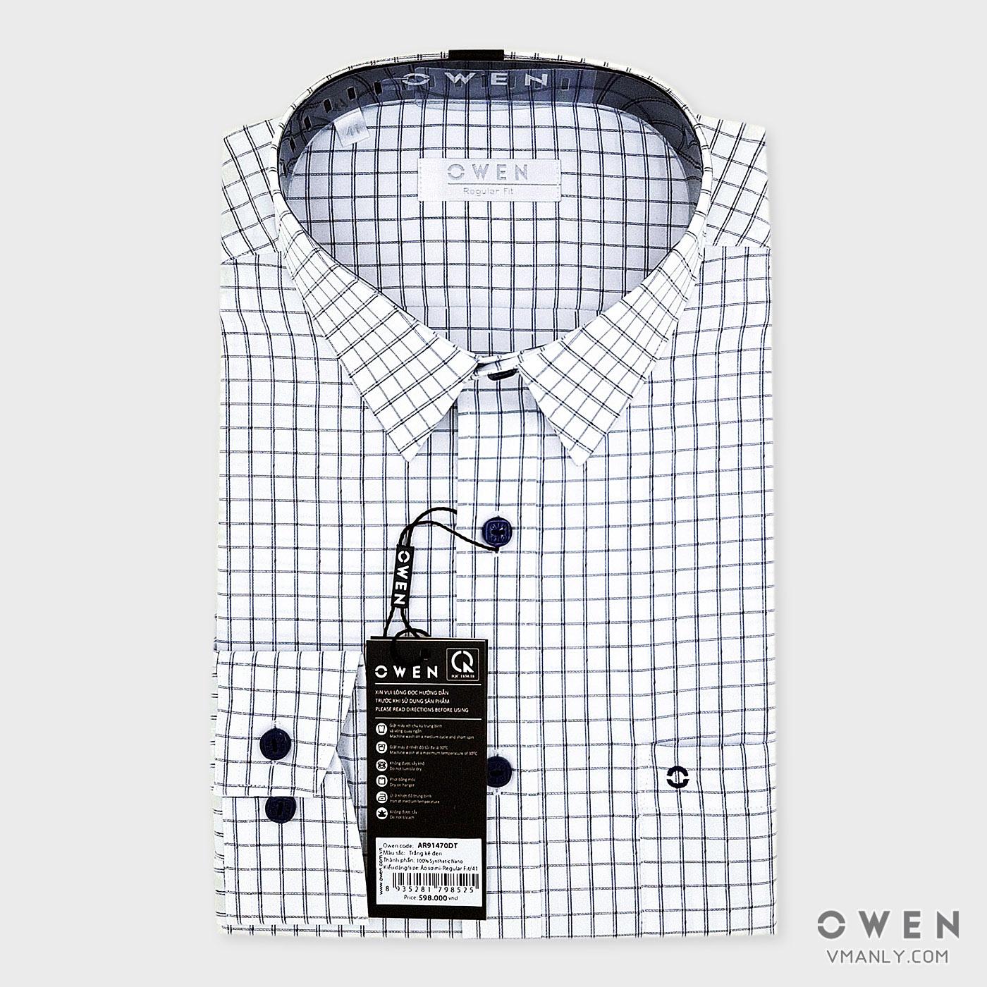 Áo sơ mi nam dài tay Owen có túi regular fit màu trắng kẻ caro AR91470DT