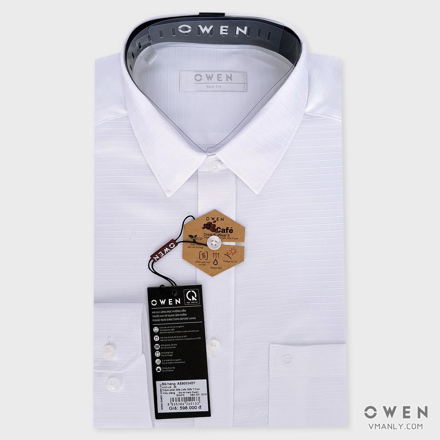 Áo sơ mi nam dài tay Owen màu trắng sọc ngang AS90534DT