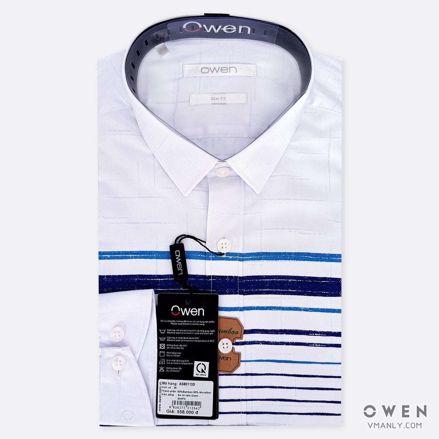 Áo sơ mi nam dài tay Owen màu trắng sọc xanh AS80113D