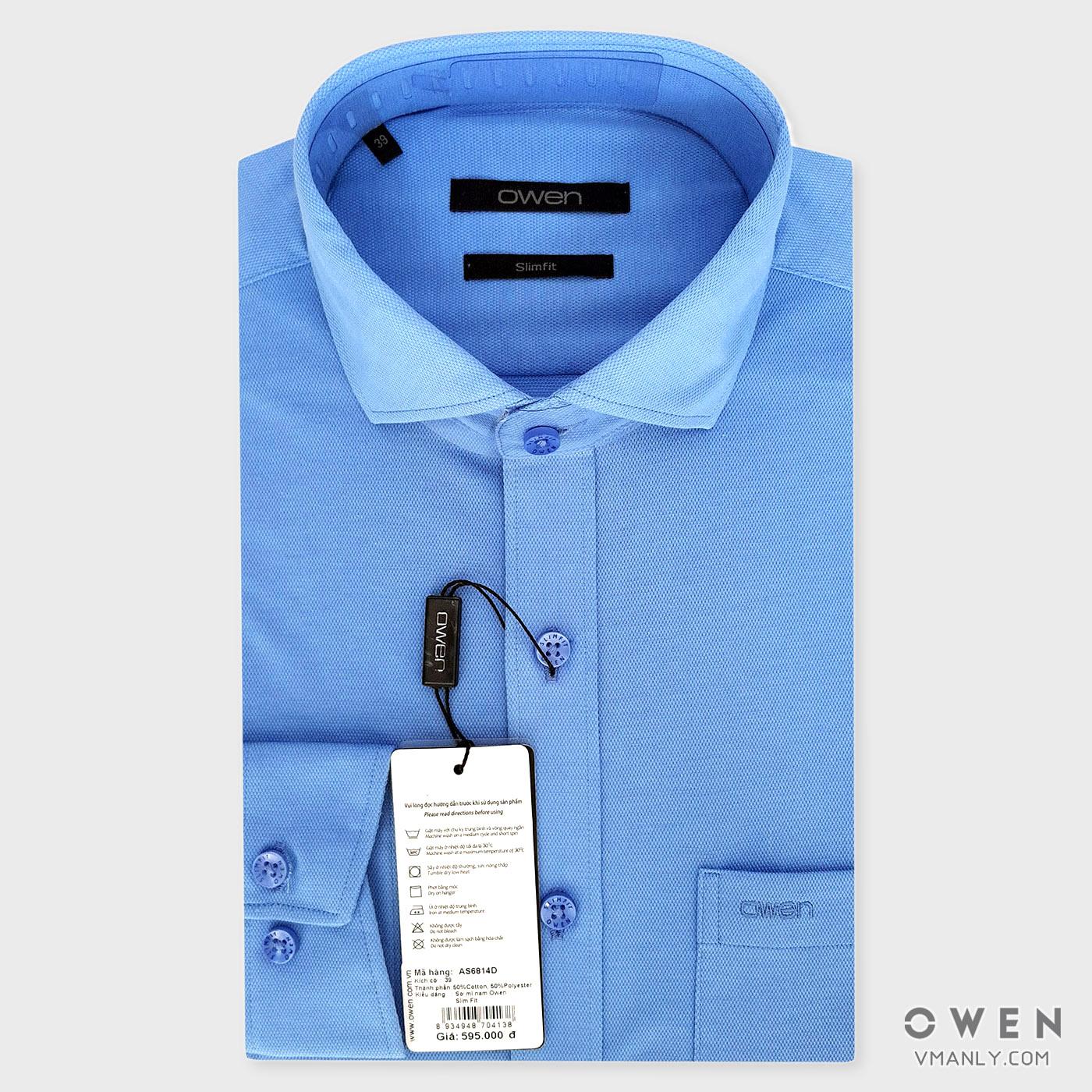 Áo sơ mi nam dài tay Owen màu xanh nhạt AS6814D