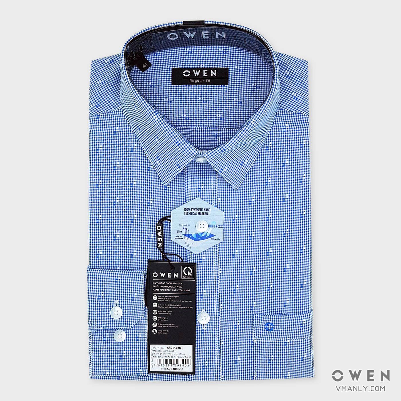 Áo sơ mi nam dài tay Owen có túi màu xanh kẻ caro AR91468DT
