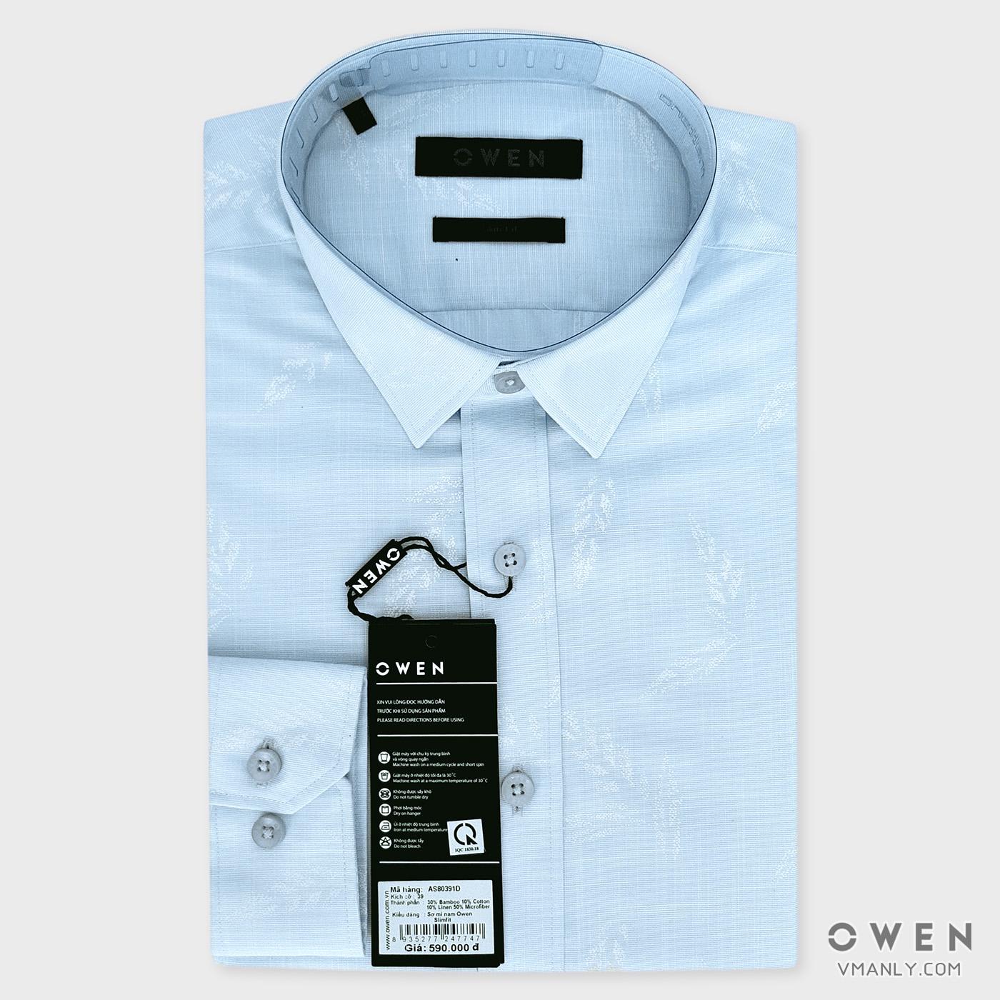 Áo sơ mi nam dài tay Owen màu xanh hoa văn AS80391D
