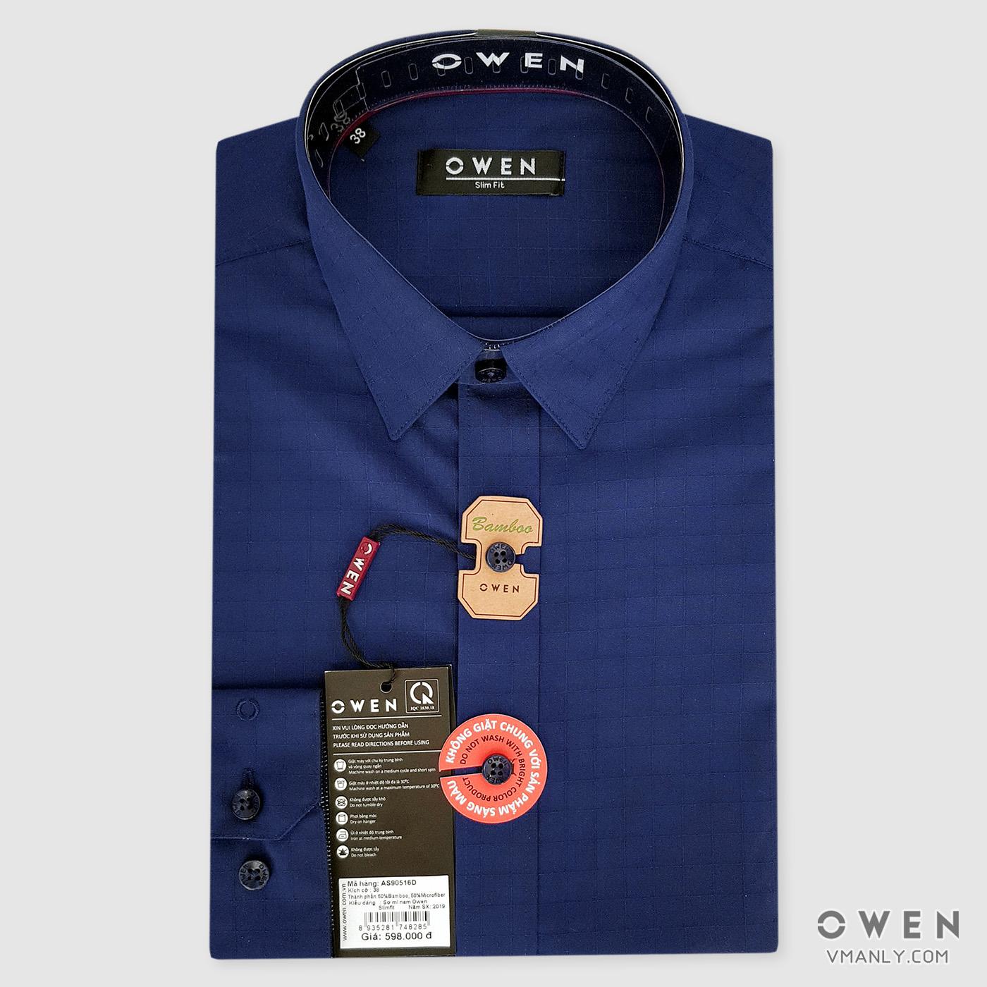 Áo sơ mi nam dài tay Owen màu xanh ca rô AS90516D