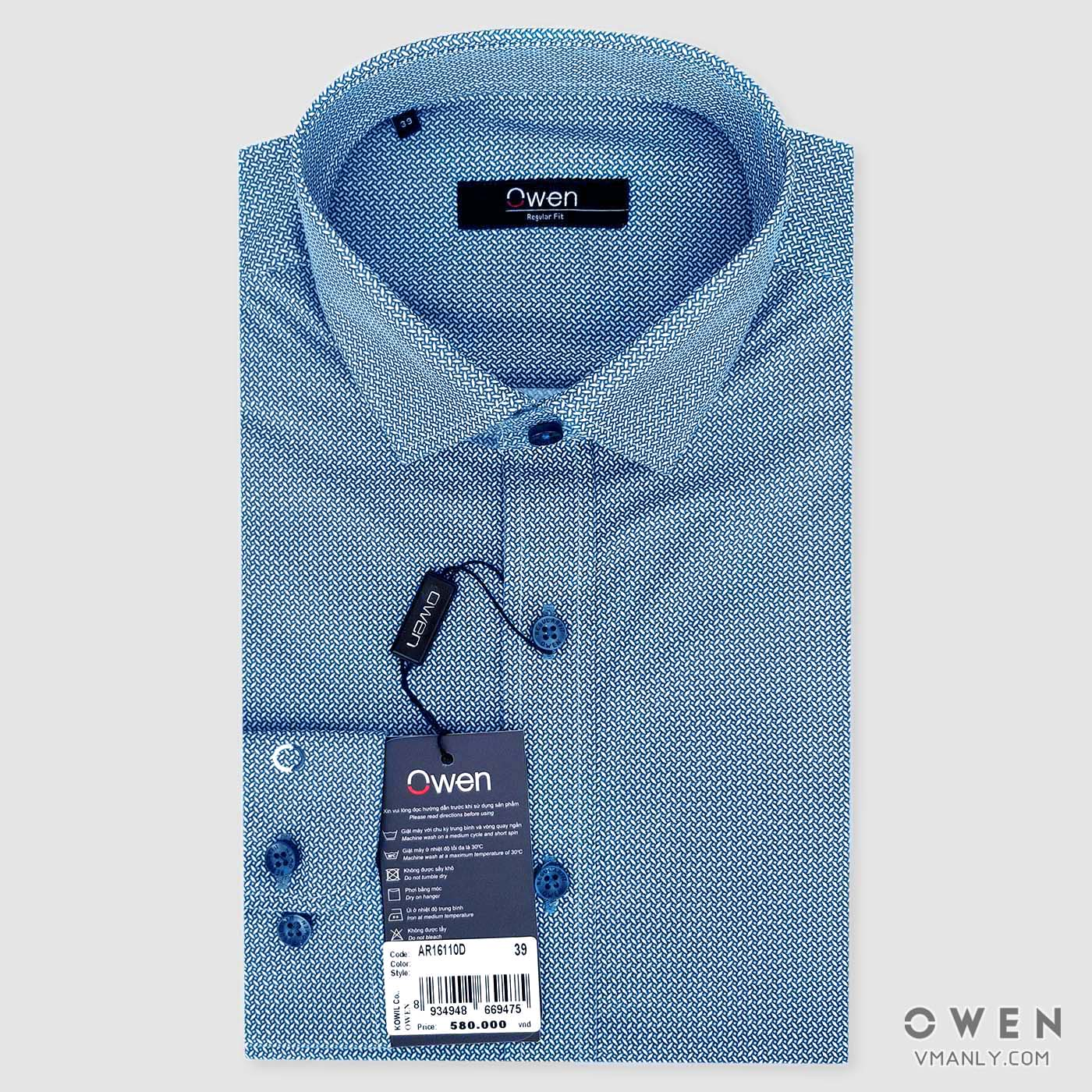 Áo sơ mi nam dài tay Owen màu xanh hoa văn AR16110D