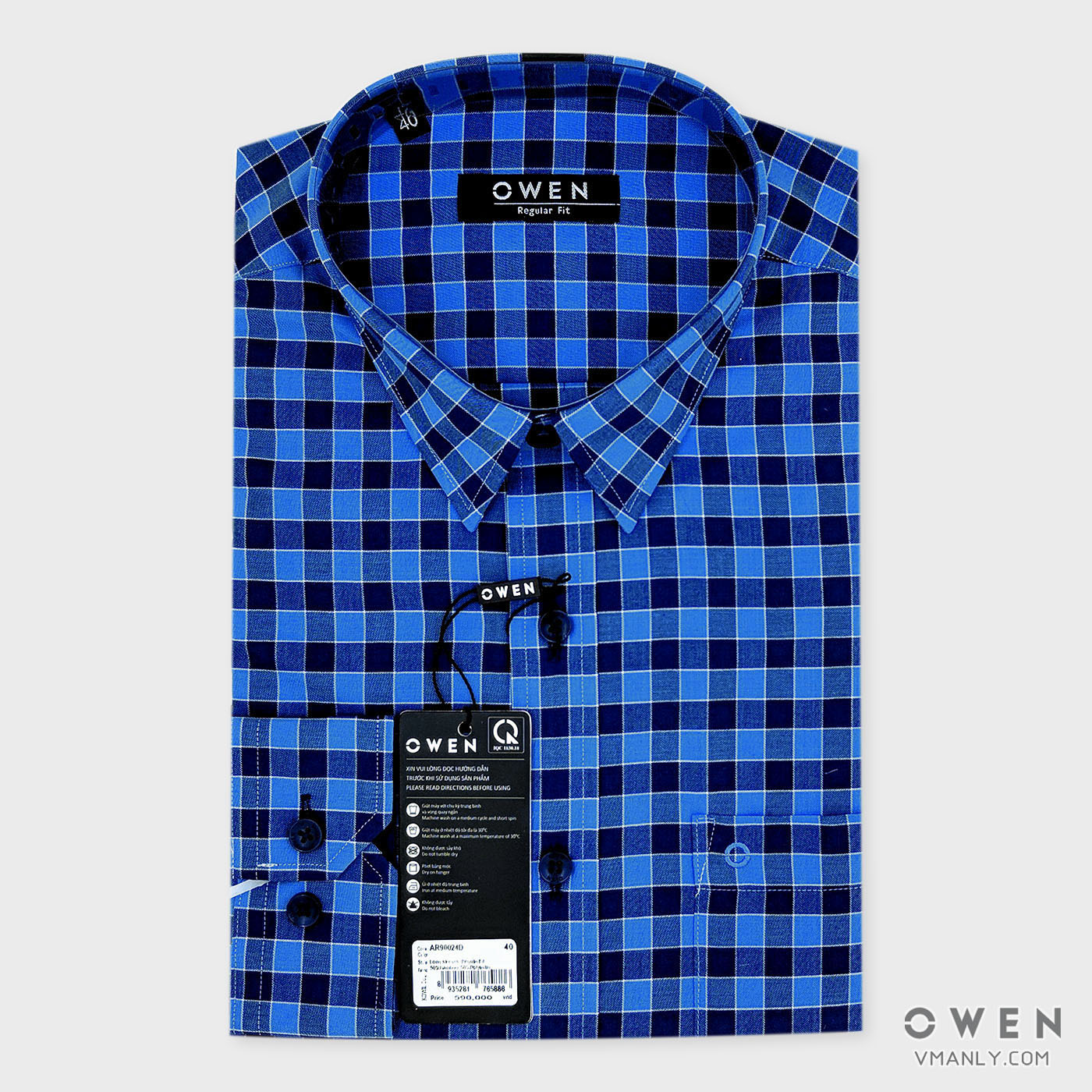 Áo sơ mi nam dài tay Owen có túi regular fit kẻ caro xanh AR90024D