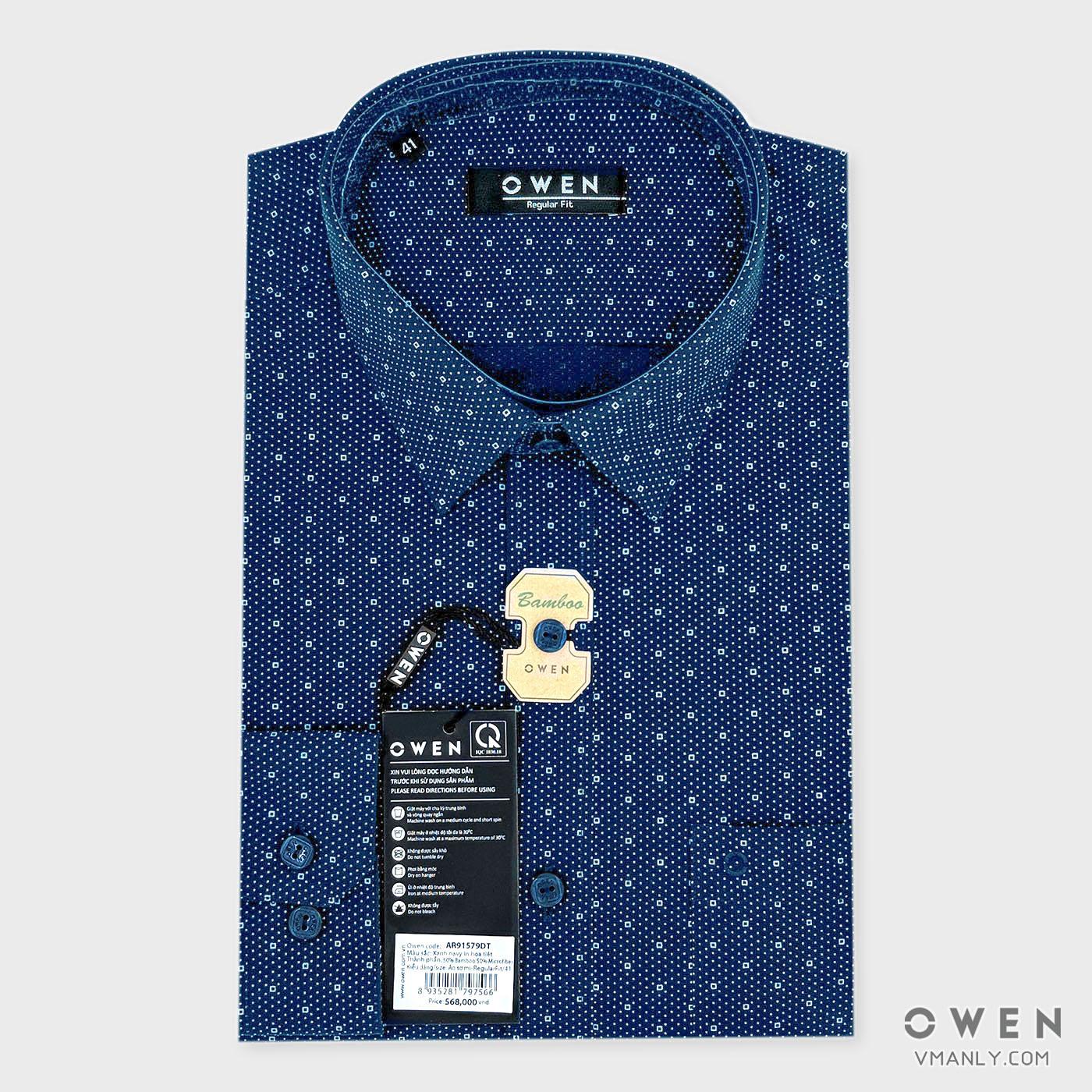 Áo sơ mi nam dài tay Owen có túi regular fit màu xanh chấm bi AR91579DT