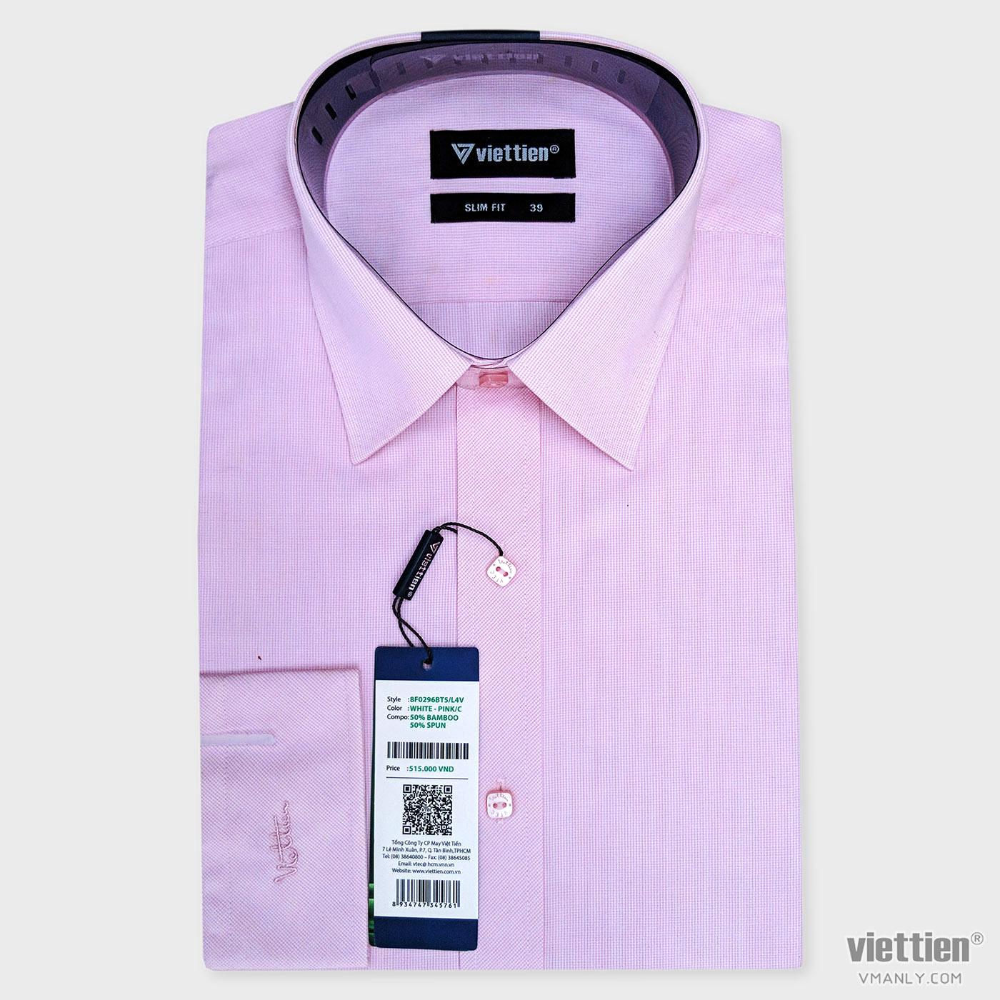 Áo sơ mi nam dài tay Việt Tiến màu hồng kẻ ca rô 8F0296