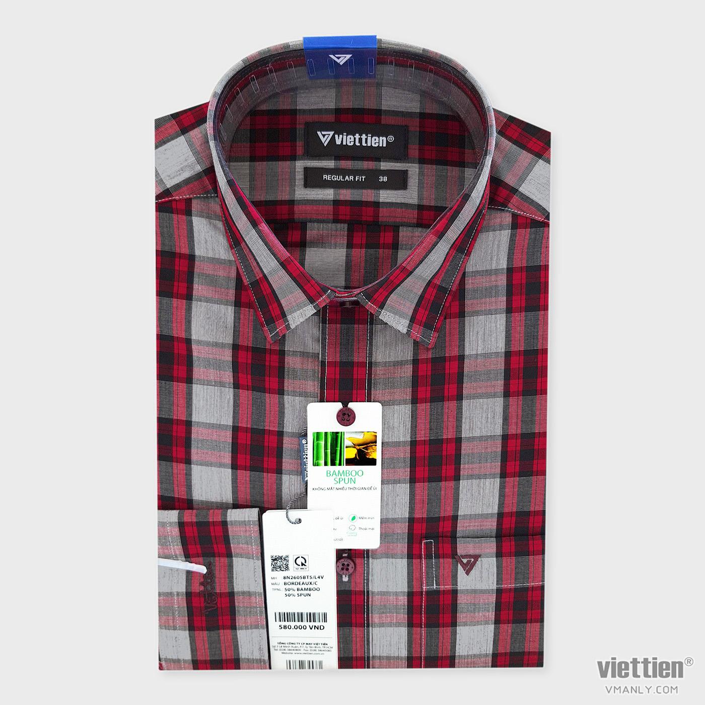 Áo sơ mi nam dài tay Việt Tiến có túi regular fit kẻ carô màu đỏ 8N2605BT5/L4V