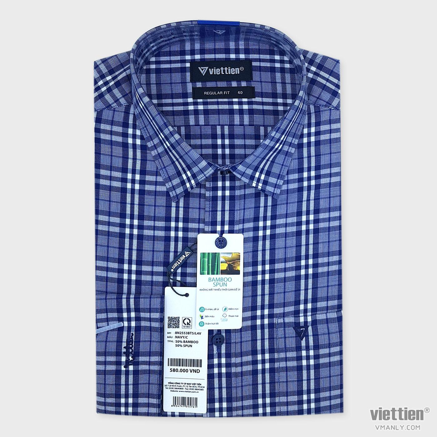 Áo sơ mi nam dài tay Việt Tiến có túi regular fit màu xanh kẻ caro 8N2553BT5/L4V