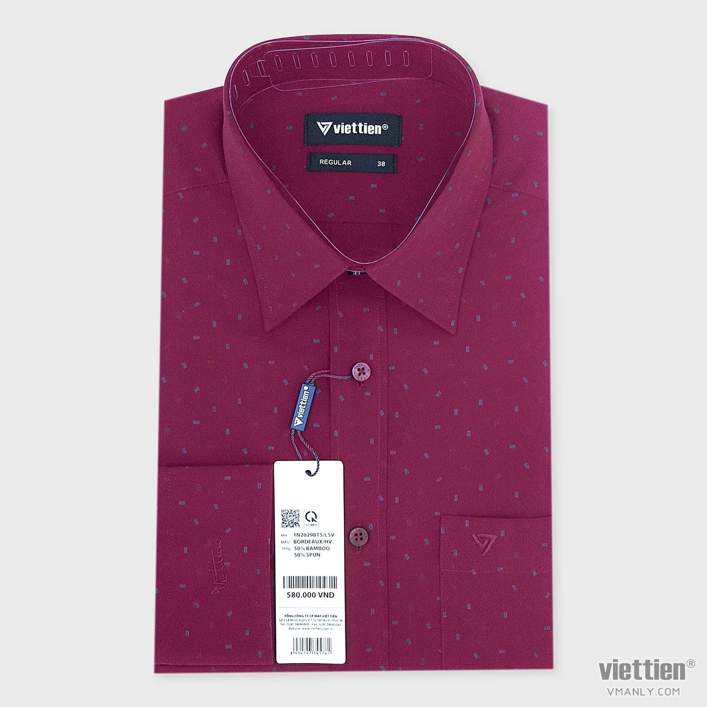 Áo sơ mi nam dài tay Việt Tiến có túi regular màu đỏ đô hoa văn 1N2029BT5/L5V