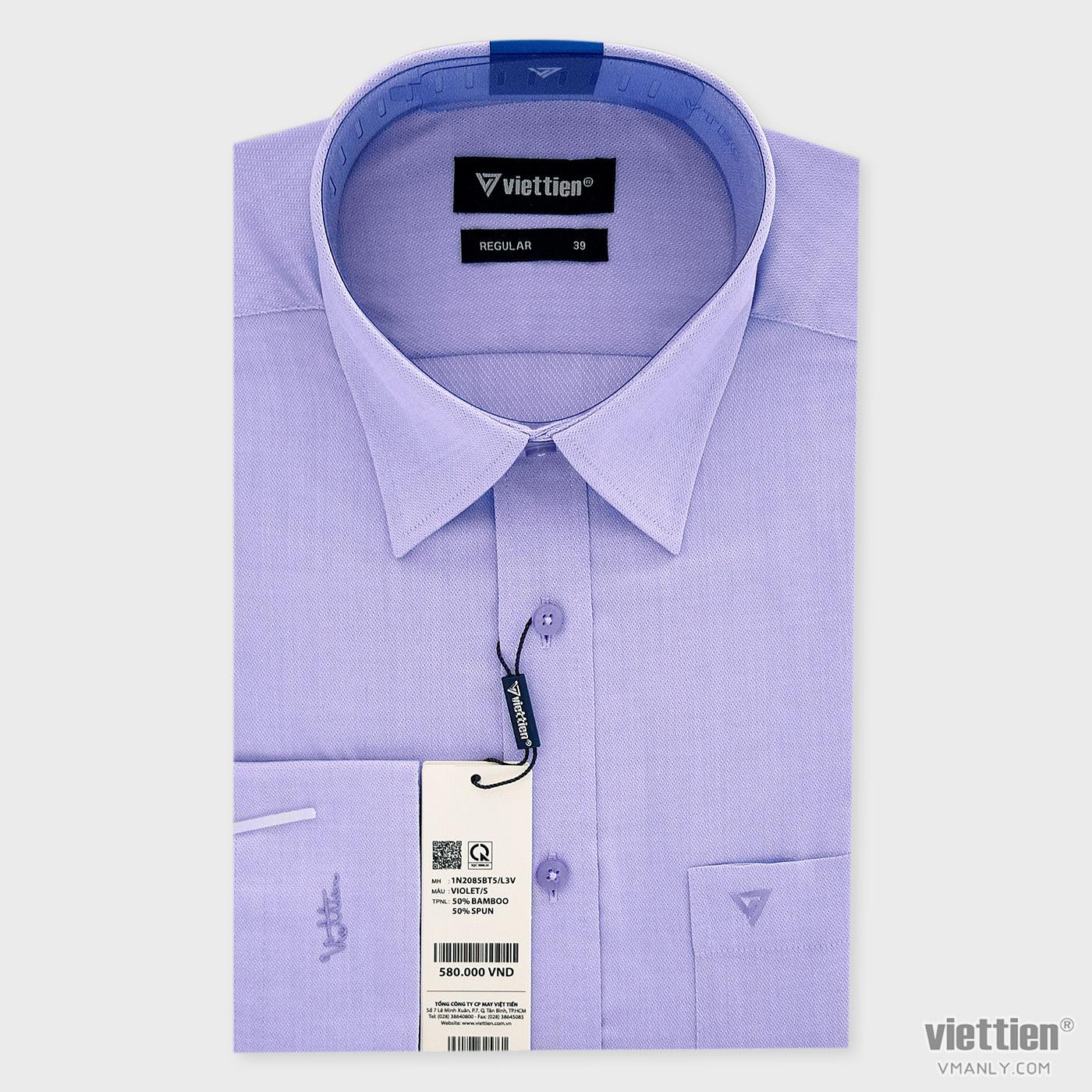 Áo sơ mi nam dài tay Việt Tiến có túi regular màu tím 1N2085BT5/L3V