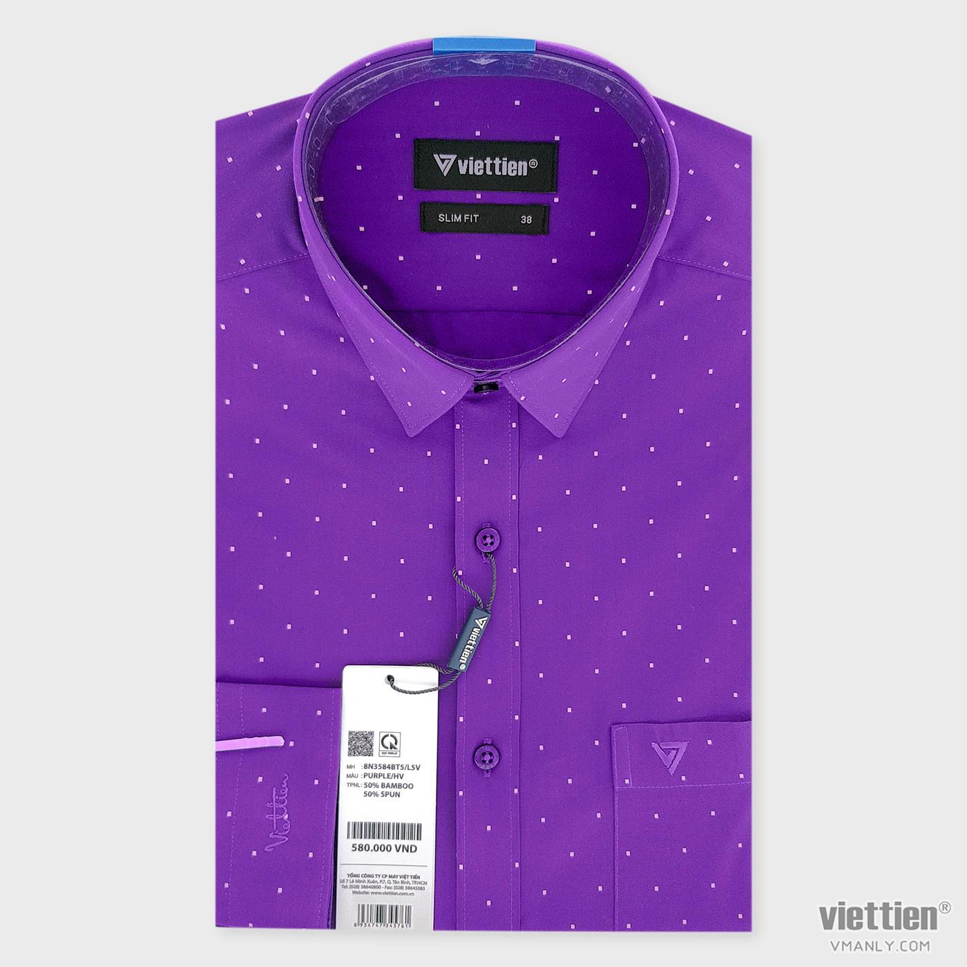 Áo sơ mi nam dài tay Việt Tiến có túi slim fit màu tím hoa văn 8N3584BT5/L5V