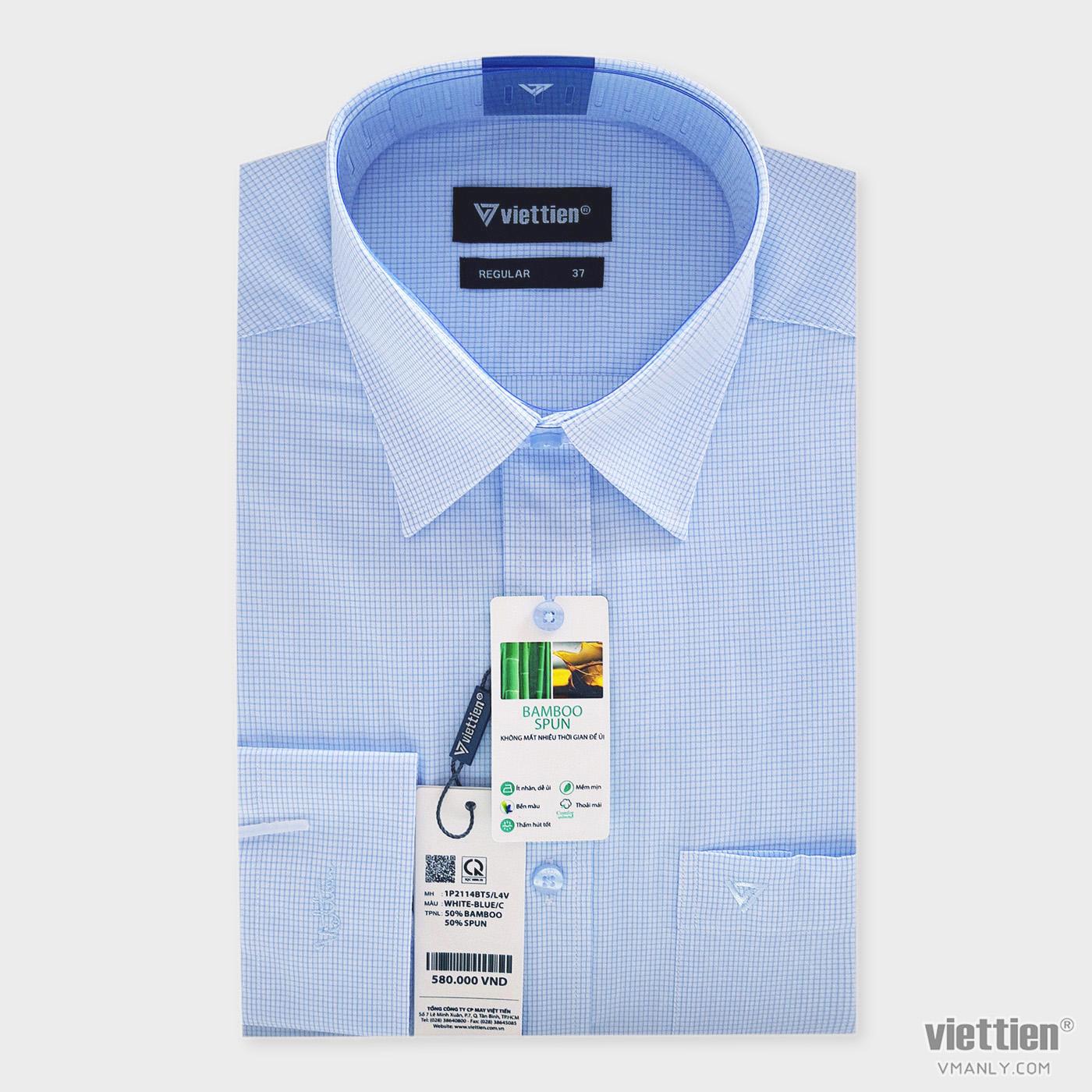 Áo sơ mi nam dài tay Việt Tiến có túi regular màu trắng carô xanh 1P2114BT5/L4V