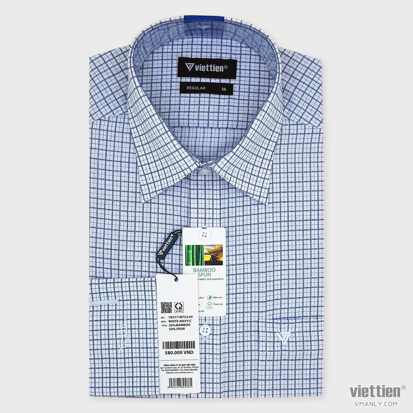 Áo sơ mi nam dài tay Việt Tiến có túi màu trắng carô xanh regular 1N2171BT5/L4V