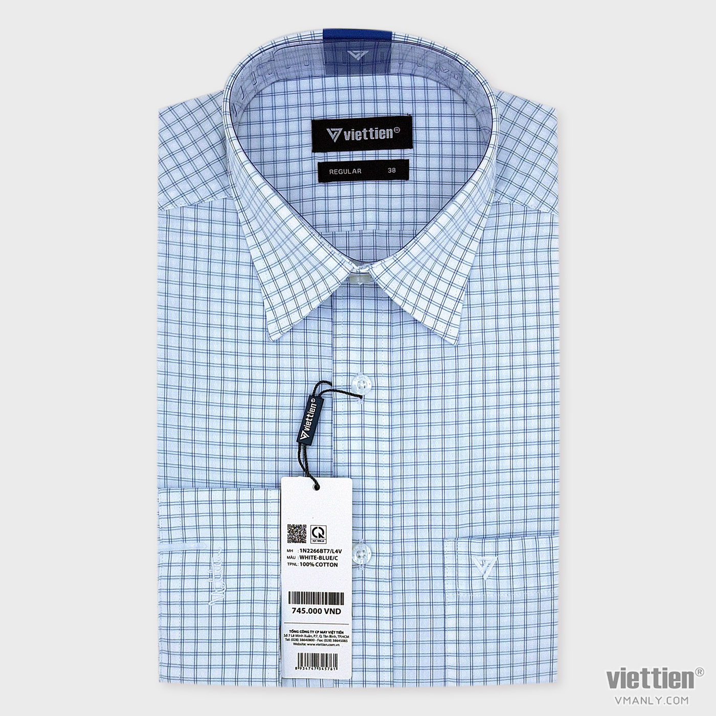 Áo sơ mi nam dài tay Việt Tiến có túi màu trắng caro xanh regular 1N2266BT7/L4V