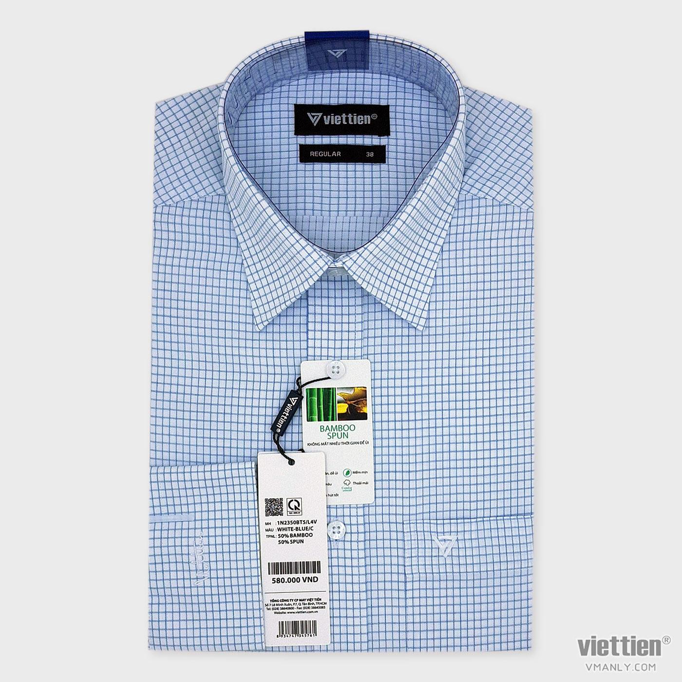 Áo sơ mi nam dài tay Việt Tiến có túi màu trắng carô xanh regular 1N2350BT5/L4V