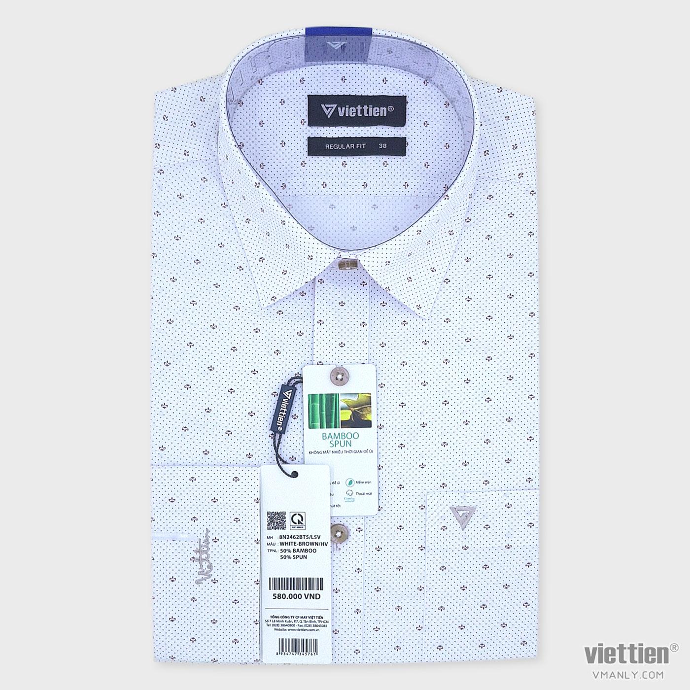 Áo sơ mi nam dài tay Việt Tiến có túi màu trắng hoa văn nâu regular fit 8N2462BT5/L5V